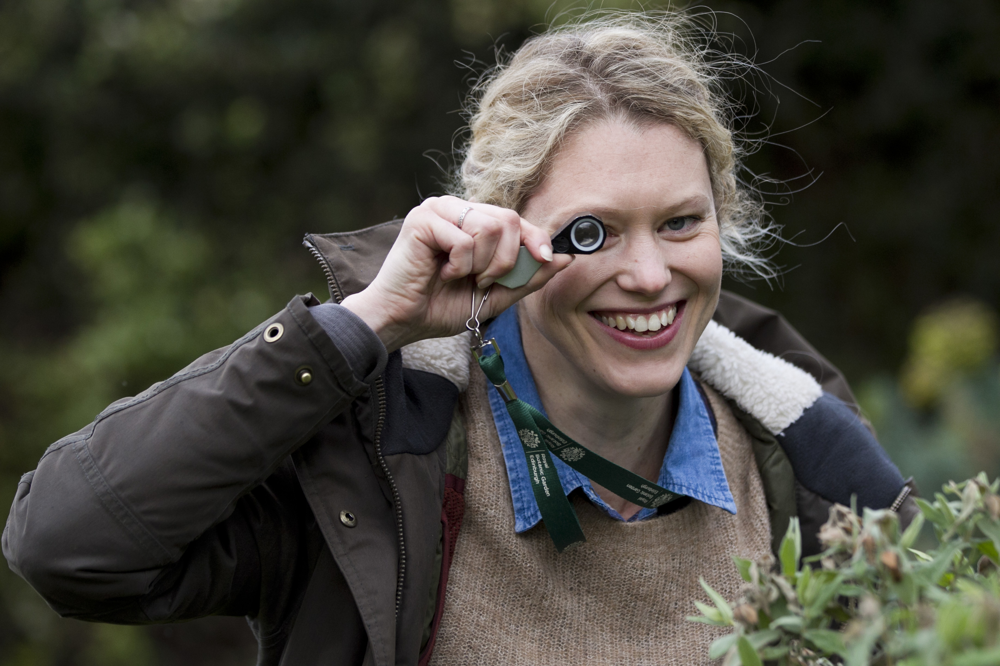 Sally Eaton, with a hand lens (Andrew Cawley)