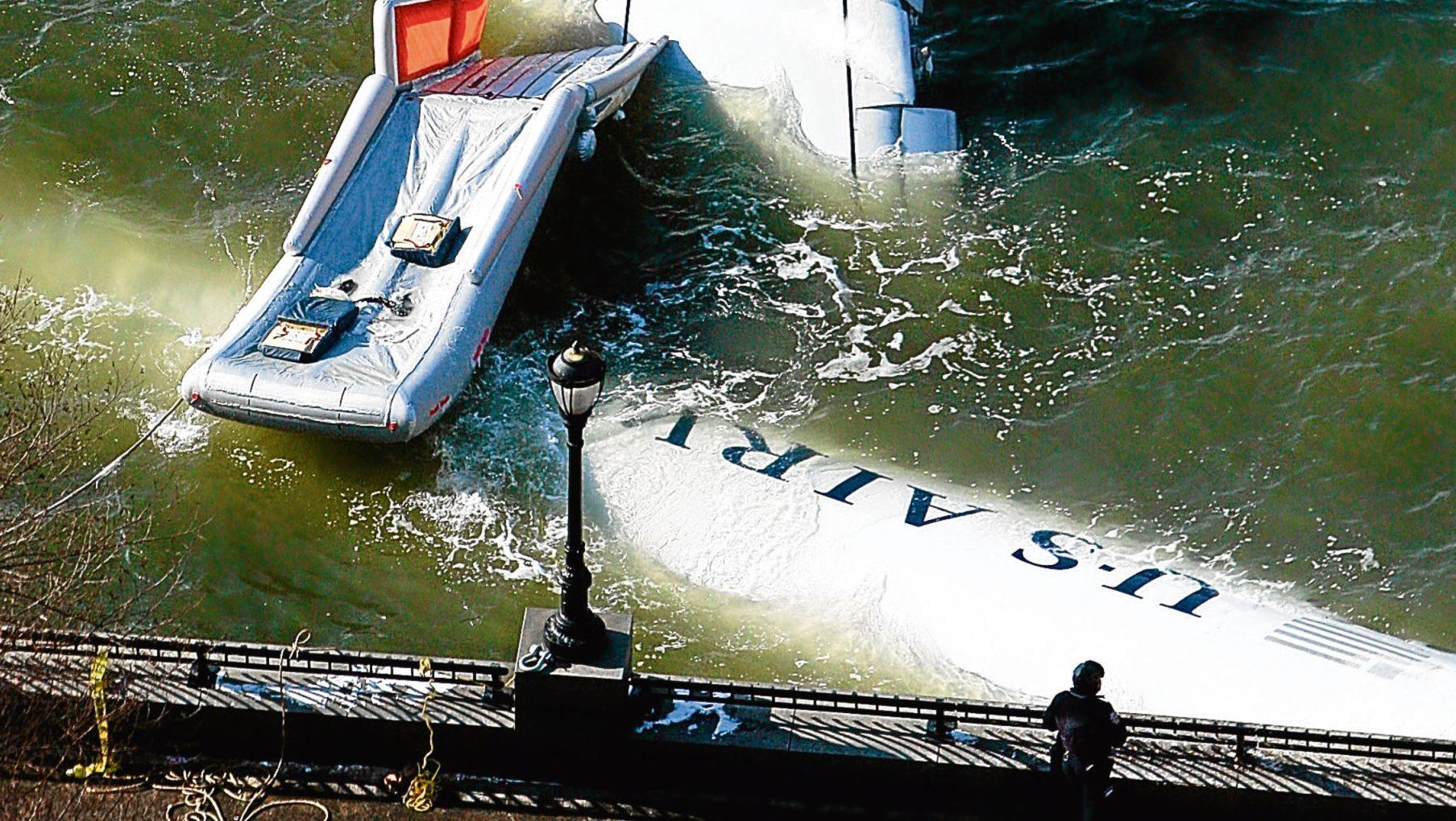 The US Airways passenger jet crashed into New York's Hudson River