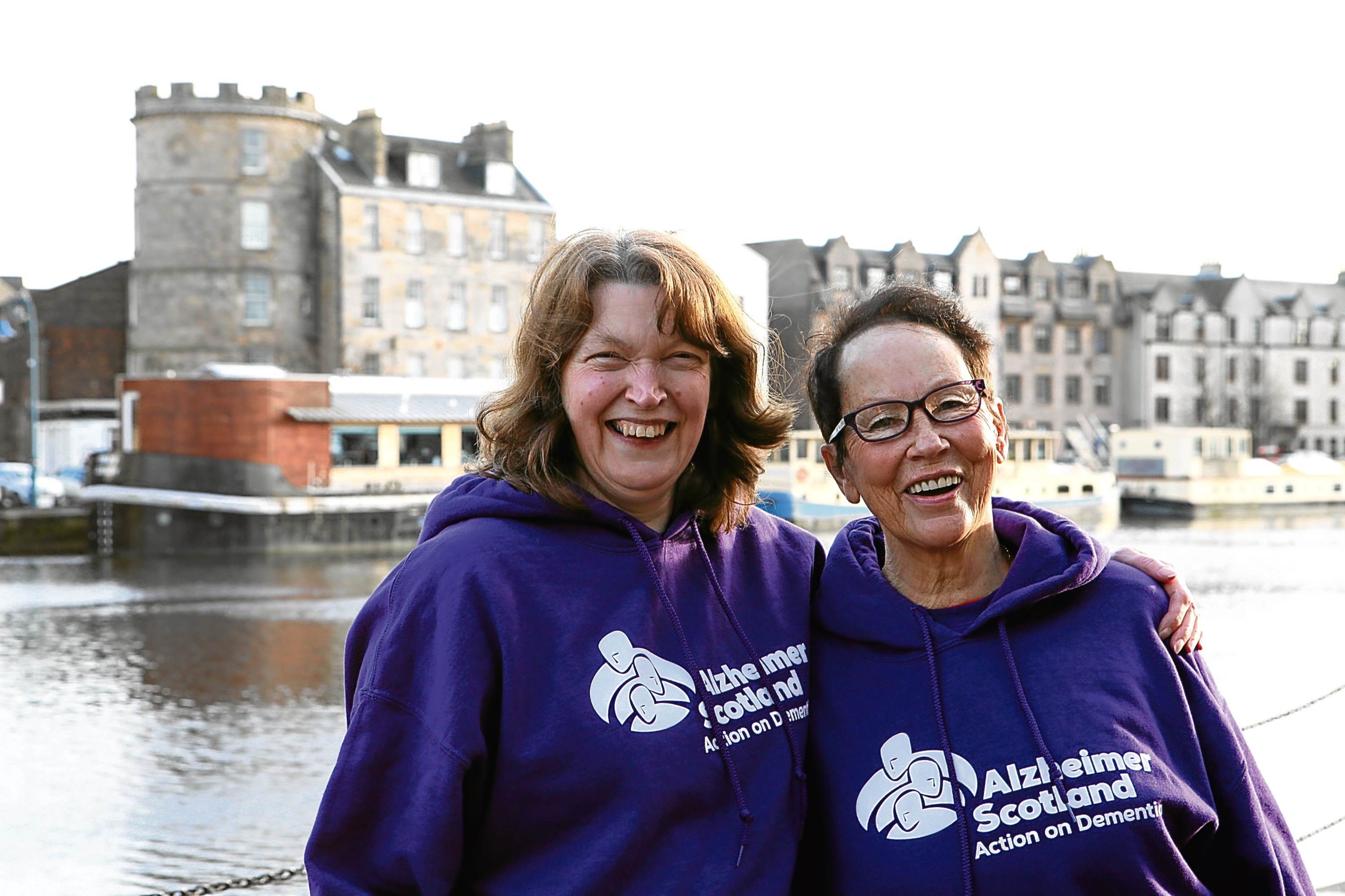 Ann Yourston (left) and her friend Ann Robertson who are walking the great wall of china for Alzheimer Scotland and in memory of Ann Yourston's parents, Nan and Les Hillam