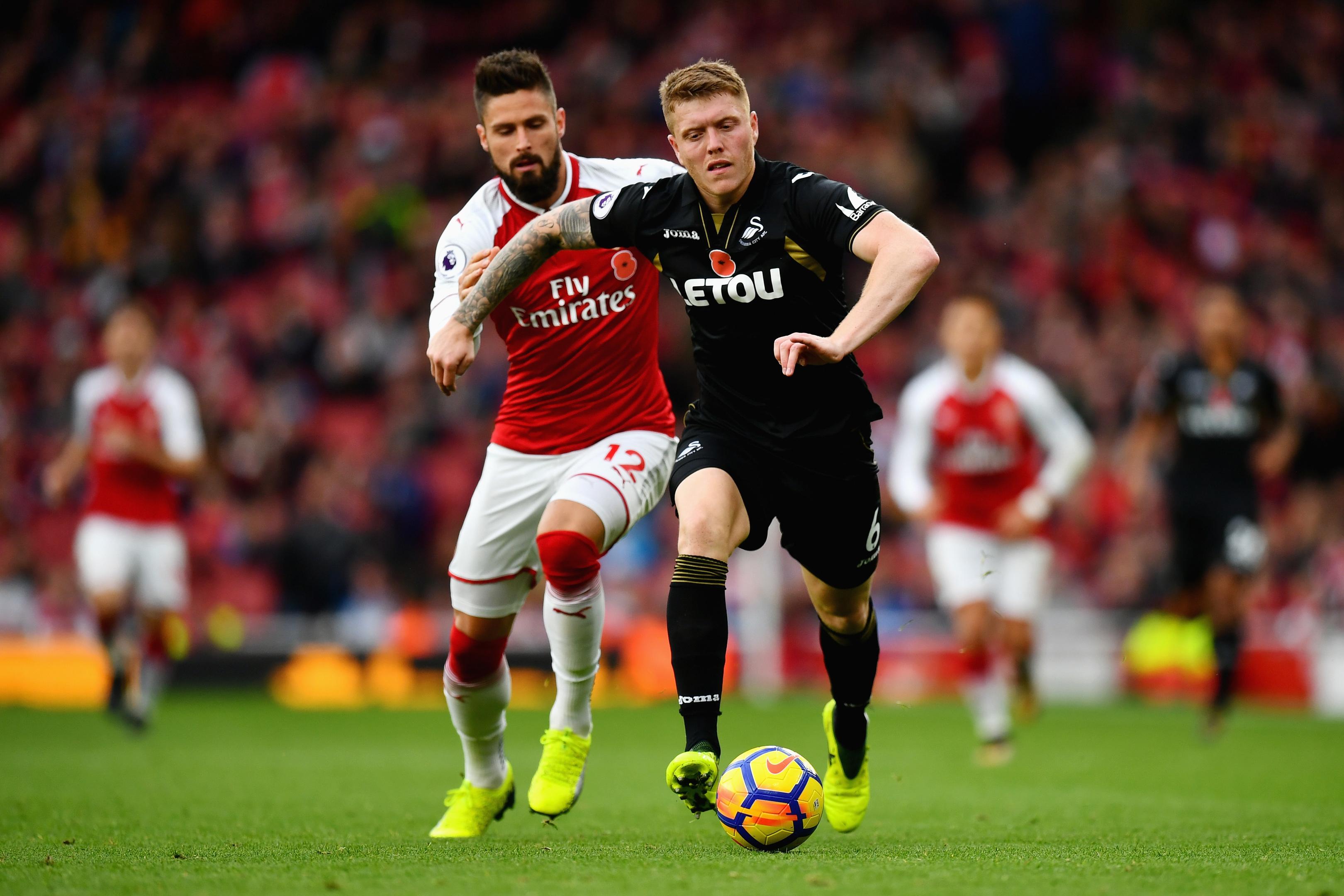 Alfie Mawson of Swansea City in action against Arsenal  (Dan Mullan/Getty Images)