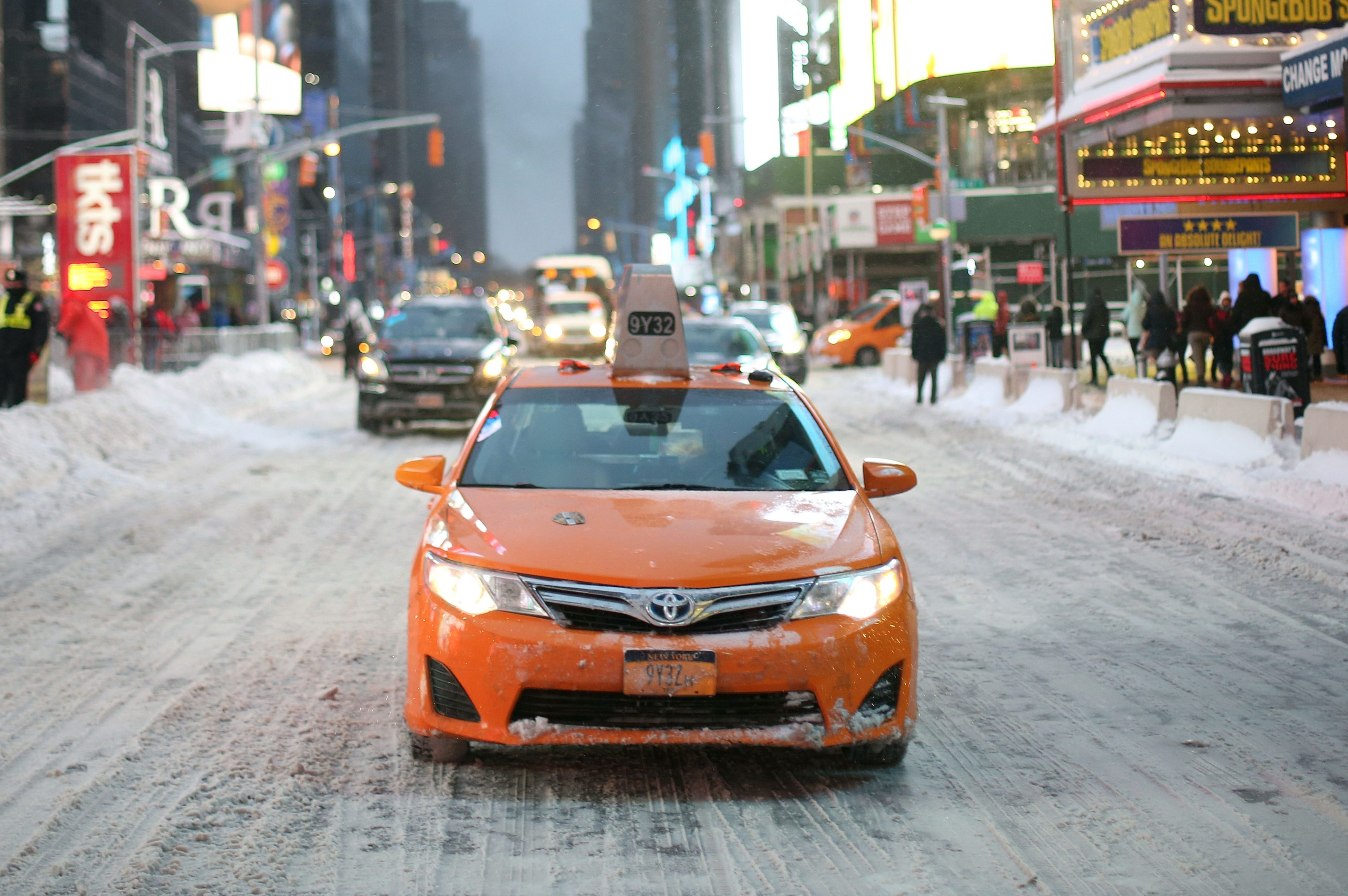 A cab is seen in Times Square during a snowstorm in Manhattan (Mohammed Elshamy/Anadolu Agency/Getty Images)