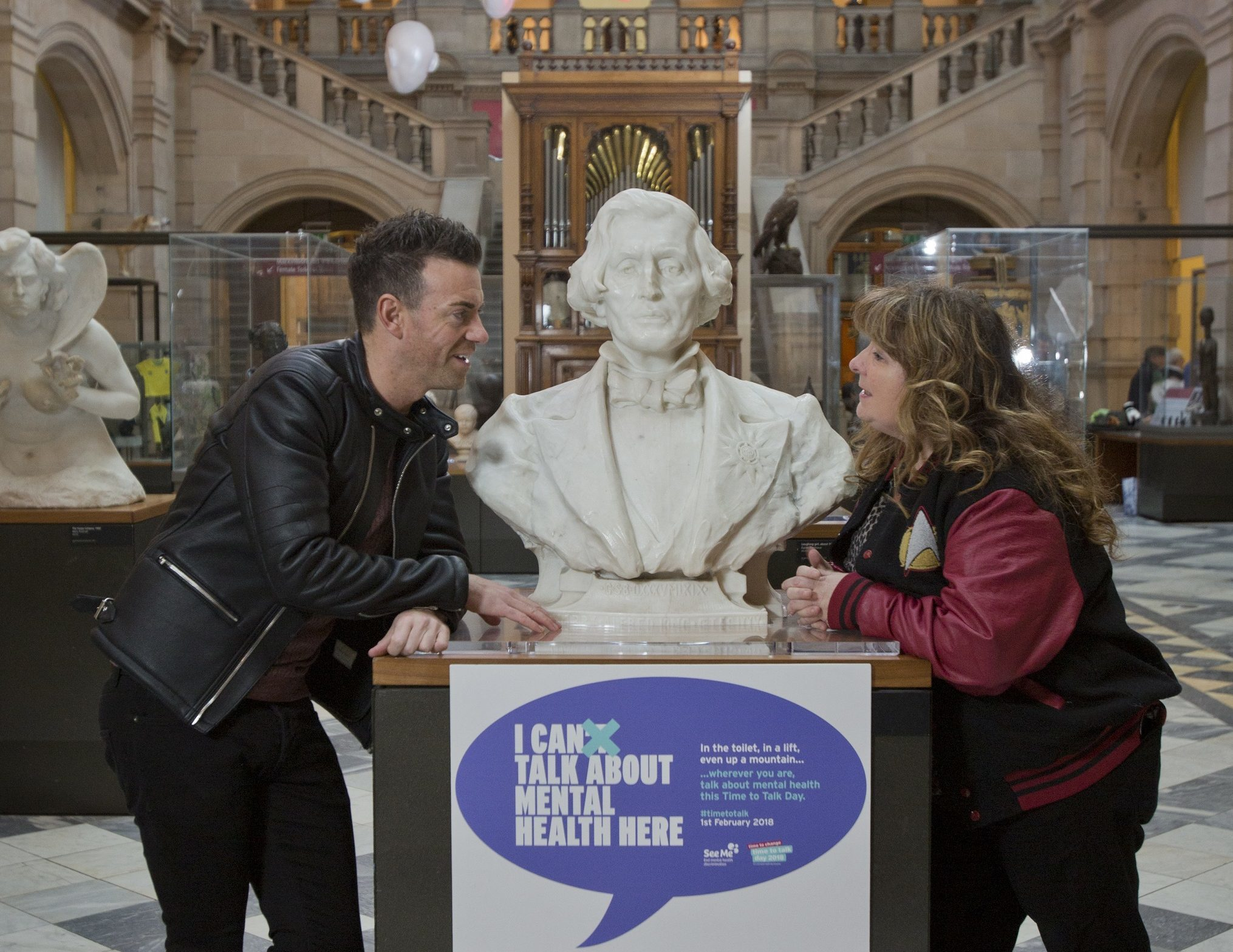 Comedians Des Clarke and Janey Godley backing the See Me campaign, I Can Talk About Mental health Here, in Kelvingrove Museum and Art Galleries. (Marc Turner)