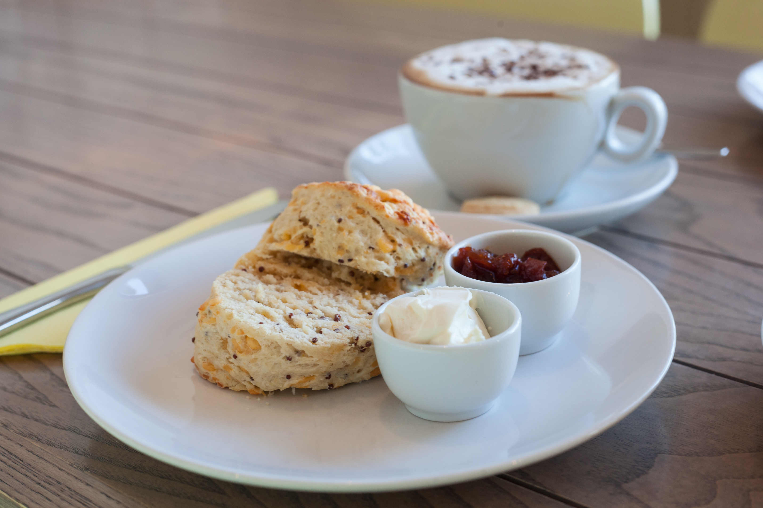 Cheese and wholegrain mustard scone served with cream cheese (Tina Norris)