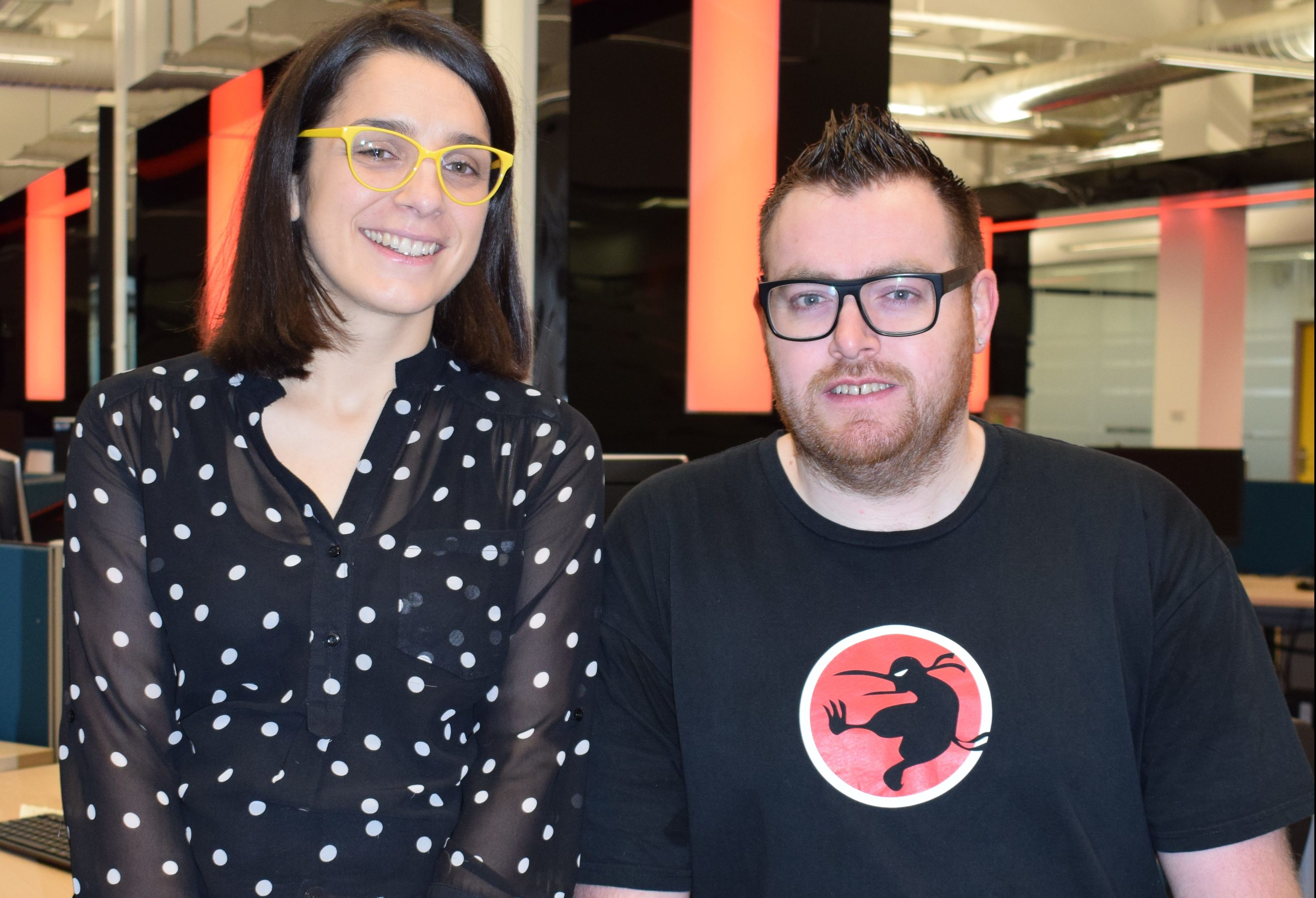 Abertay Computer Arts lecturer Lynn Parker in the University's Centre for Excellence with David Hamilton, Executive Vice President of Ninja Kiwi Europe