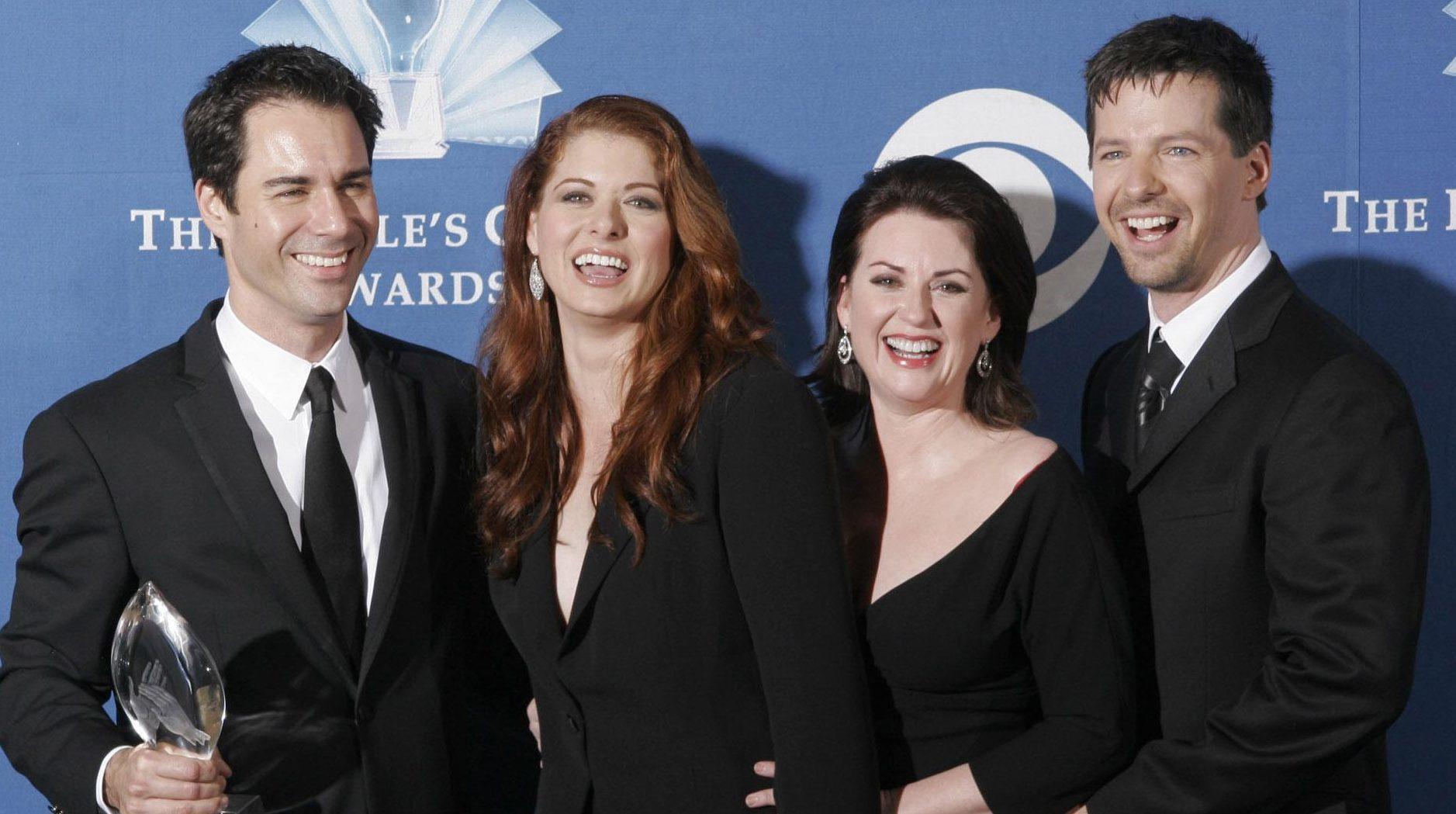 The cast of 'Will and Grace' (left to right) Eric McCormack, Debra Messing, Megan Mullally and Sean Hayes, as the return of Will & Grace saw Channel 5 more than double its audience numbers for its slot when the hit US sitcom resumed after an 11-year break. (Francis Specker/PA Wire)