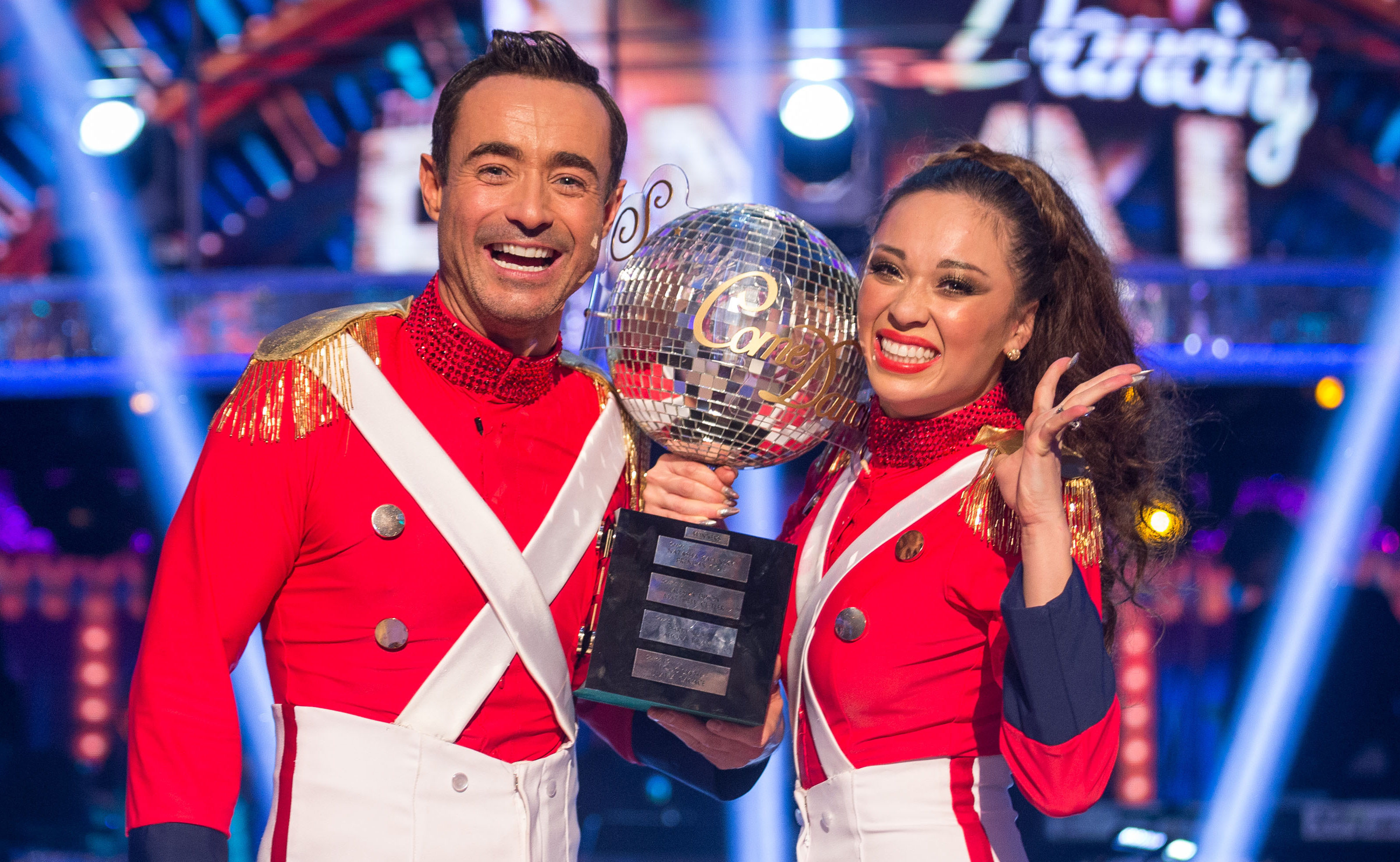 Katya Jones and Joe McFadden with the glitterball trophy (Guy Levy/BBC/PA Wire)