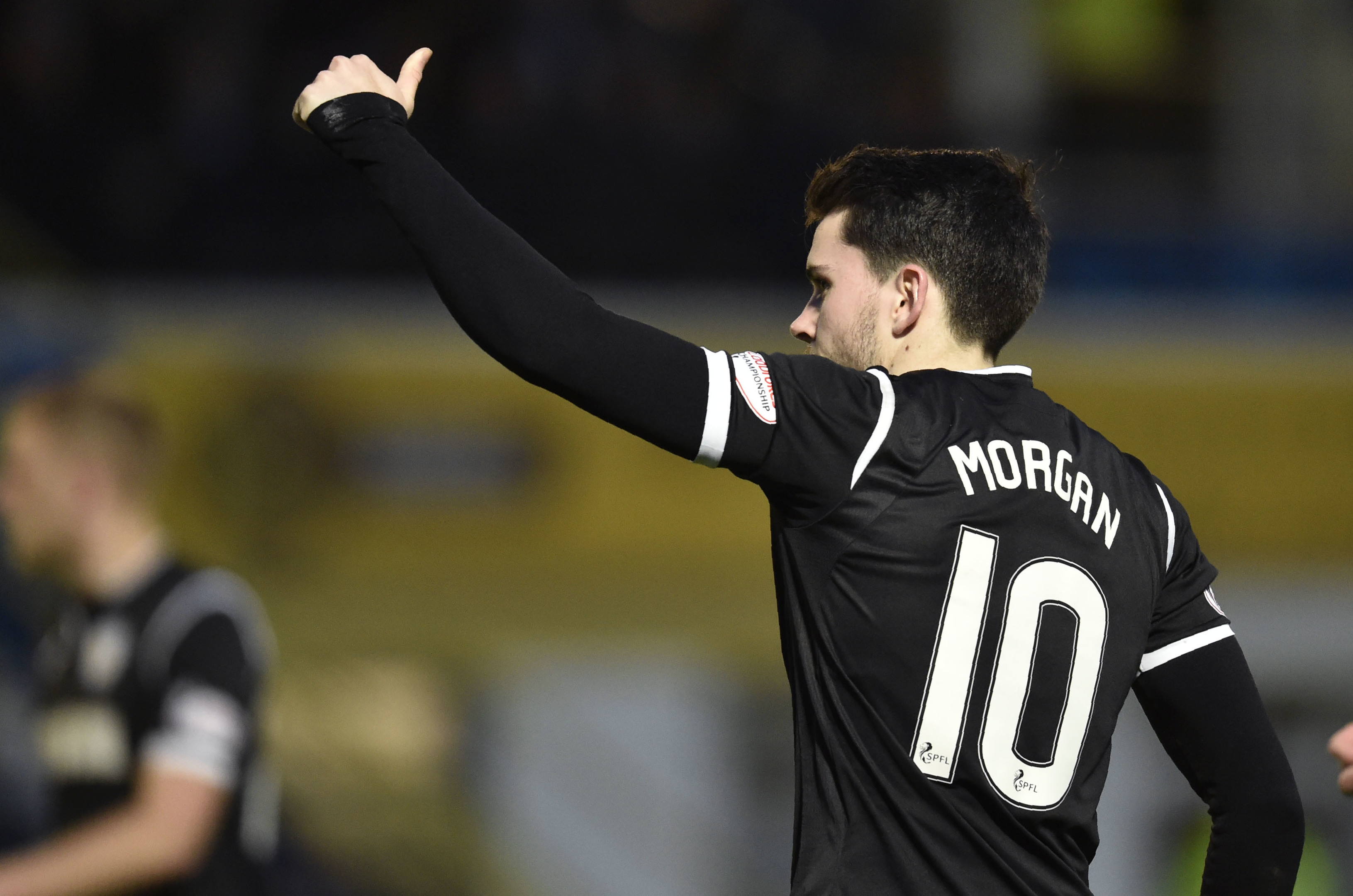 Lewis Morgan salutes the St Mirren fans in last night's derby draw against Morton (SNS Group)