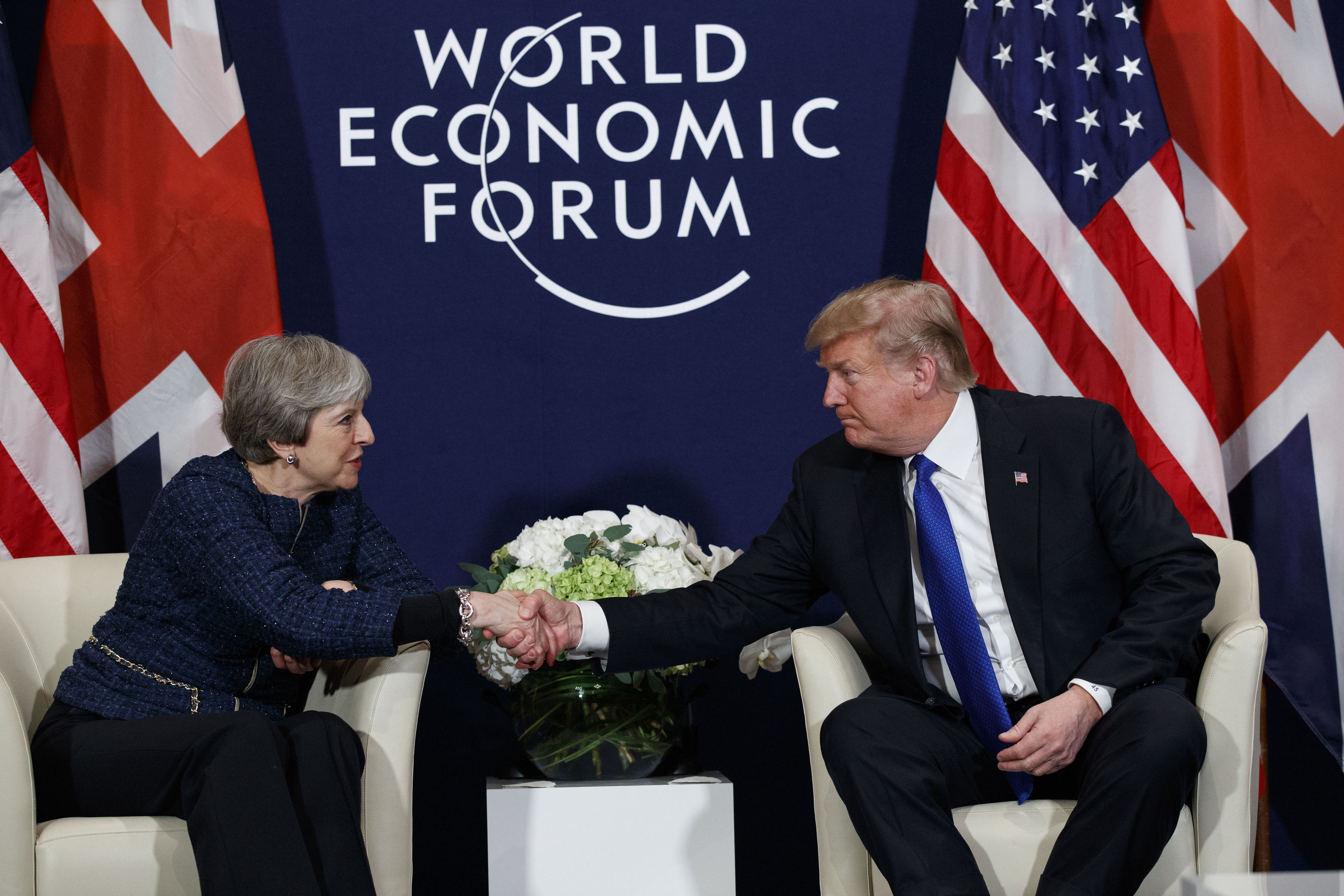 President Donald Trump meets with British Prime Minister Theresa May at the World Economic Forum in Davos (AP Photo/Evan Vucci)