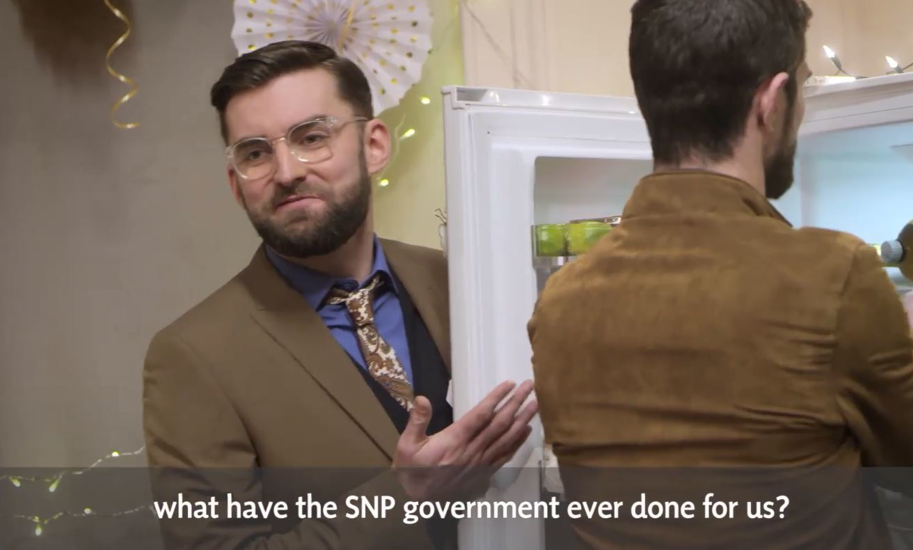 The party political broadcast was set at a house party (SNP)