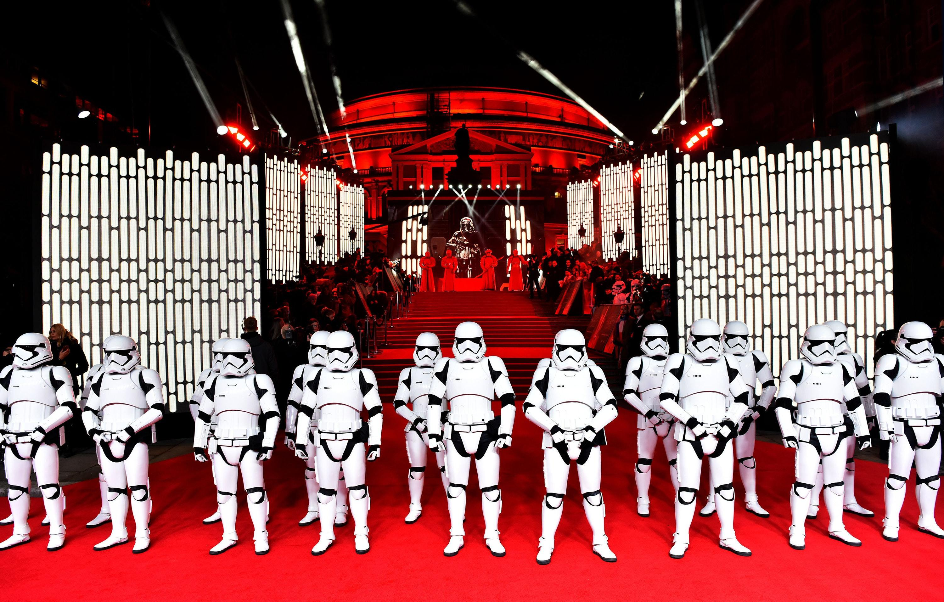 A line of stormtroopers during the European premiere of Star Wars: The Last Jedi (PA Images)