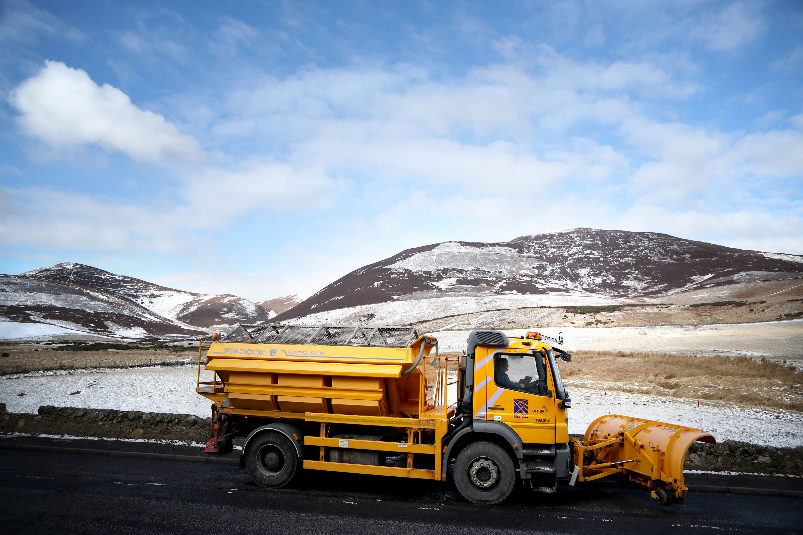A snow plough on the A702 near Penicuik in Midlothian, following heavy overnight snowfall (Jane Barlow/PA Wire)