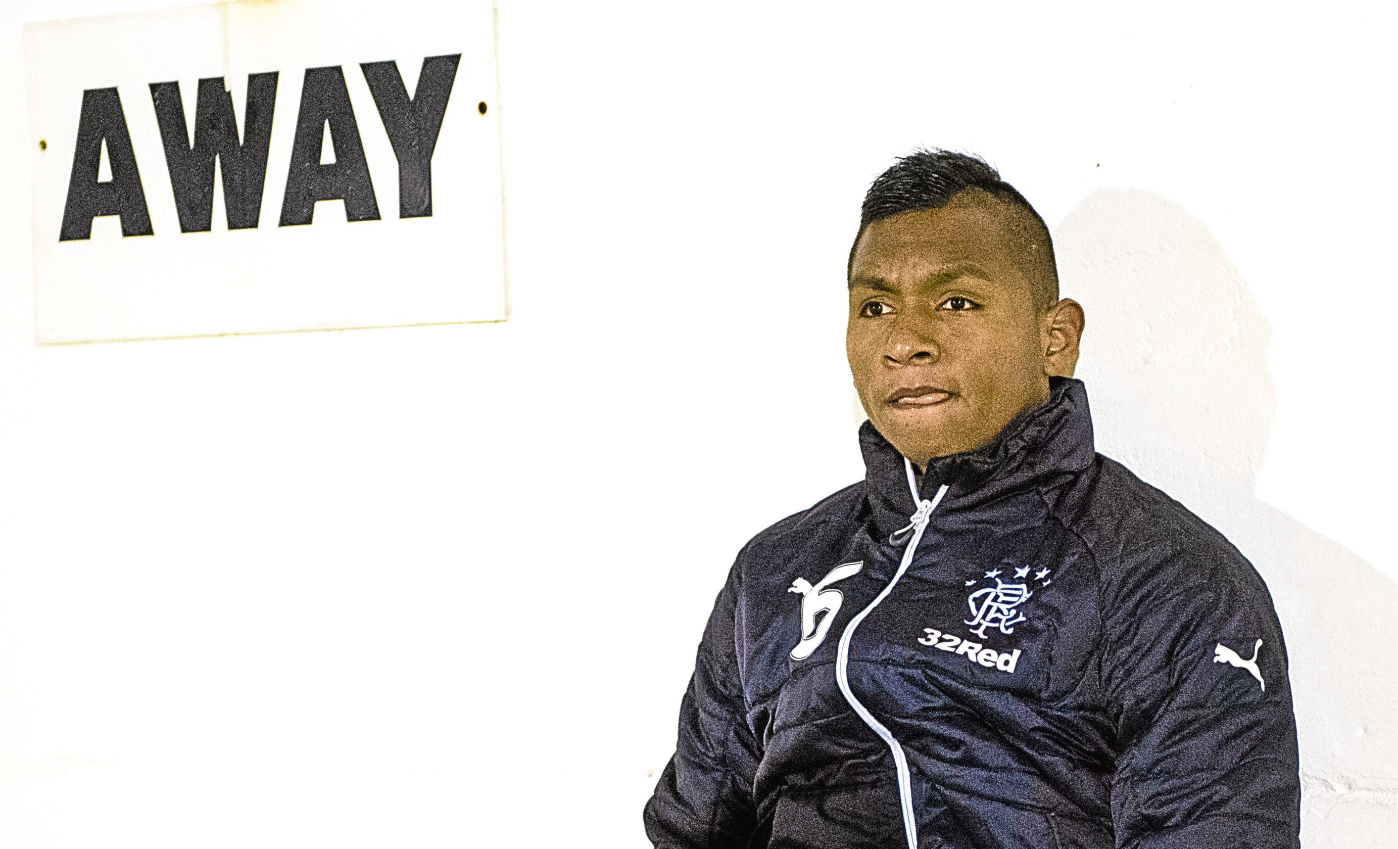 Rangers' Alfredo Morelos on the bench at Fraserburgh (SNS Group)