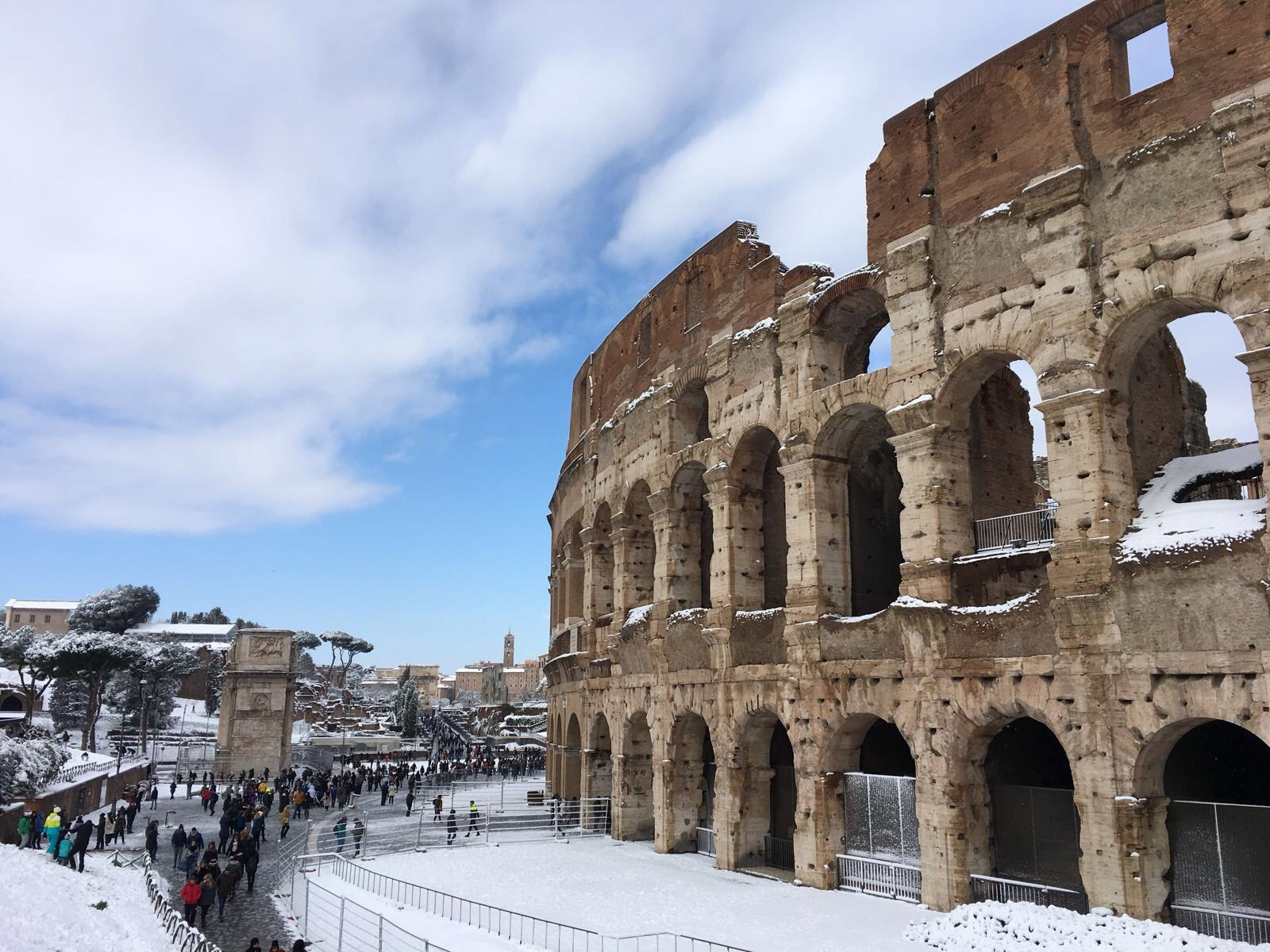 Snow settled around the Colosseum in Rome (Carla Judge/PA Wire)