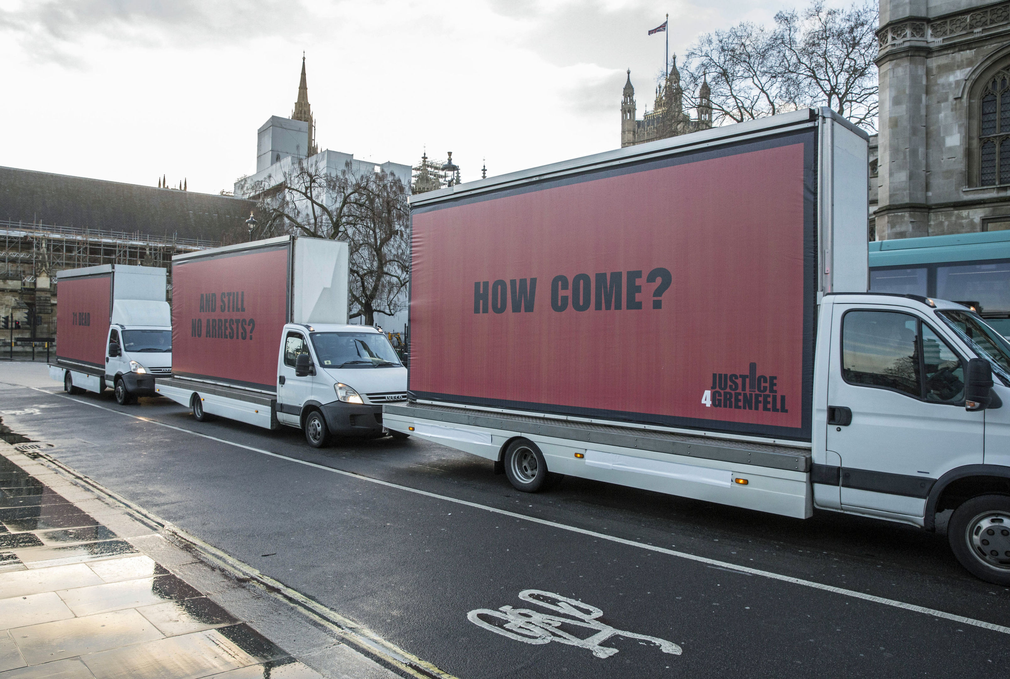 Three billboards outside the Houses of Parliament in Westminsters (Jeff Moore/Justice4Grenfell/PA Wire)