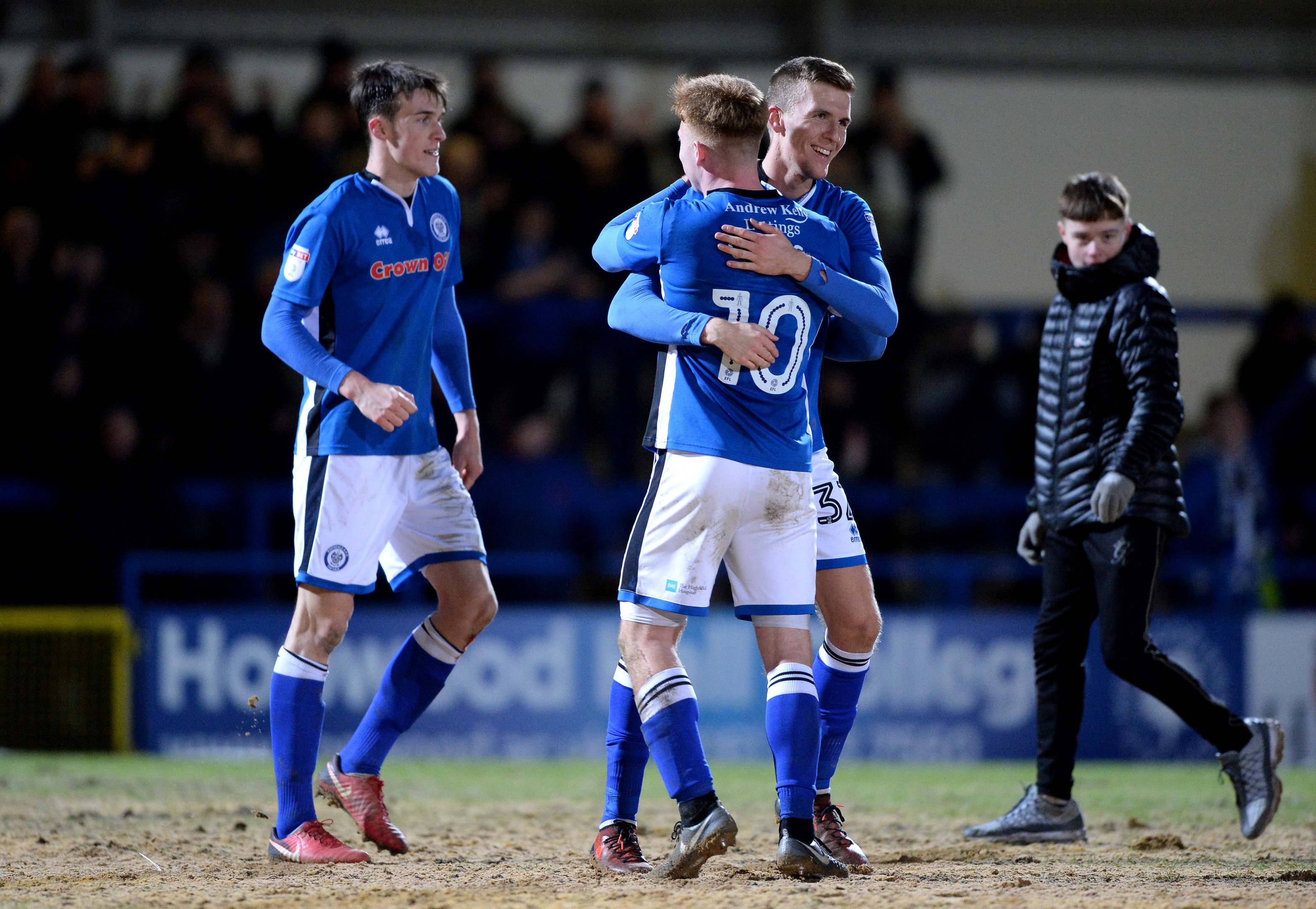 Rochdale celebrate their win over Millwall, but Spurs aren't popping corks about their pitch (Nathan Stirk/Getty Images)
