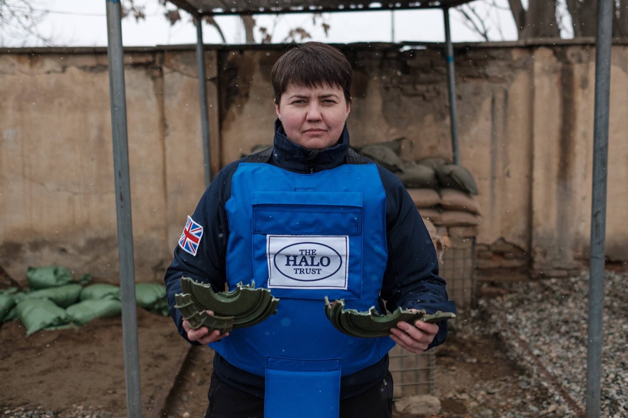 Scottish Conservative leader Ruth Davidson being given training on how to find, excavate and remove landmines by staff of the charity during her visit to Kabul, Afghanistan (HALO Trust/PA Wire)