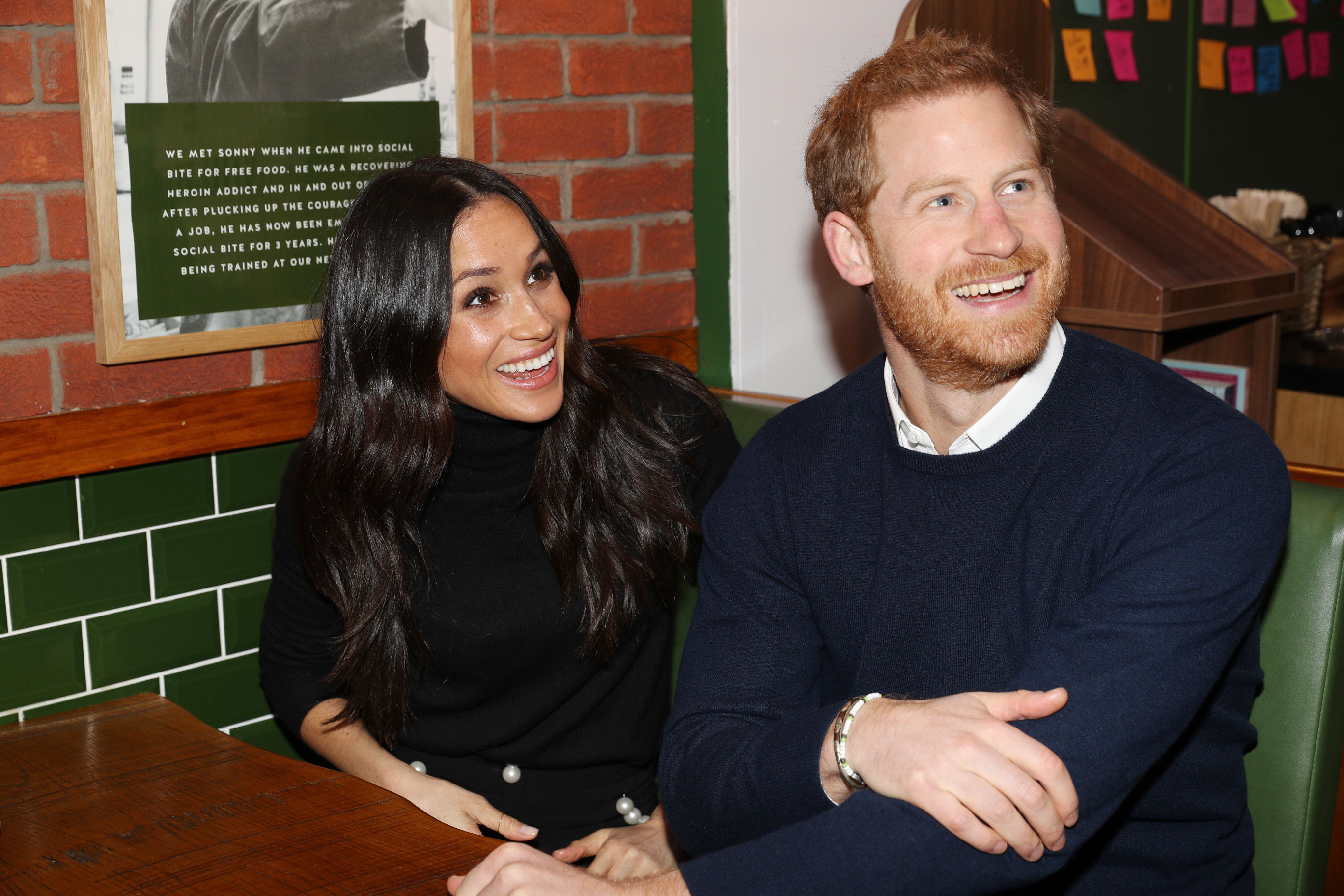 Prince Harry and Meghan Markle during a visit to Social Bite in Edinburgh, during their visit to Scotland. (Owen Humphreys/PA Wire)