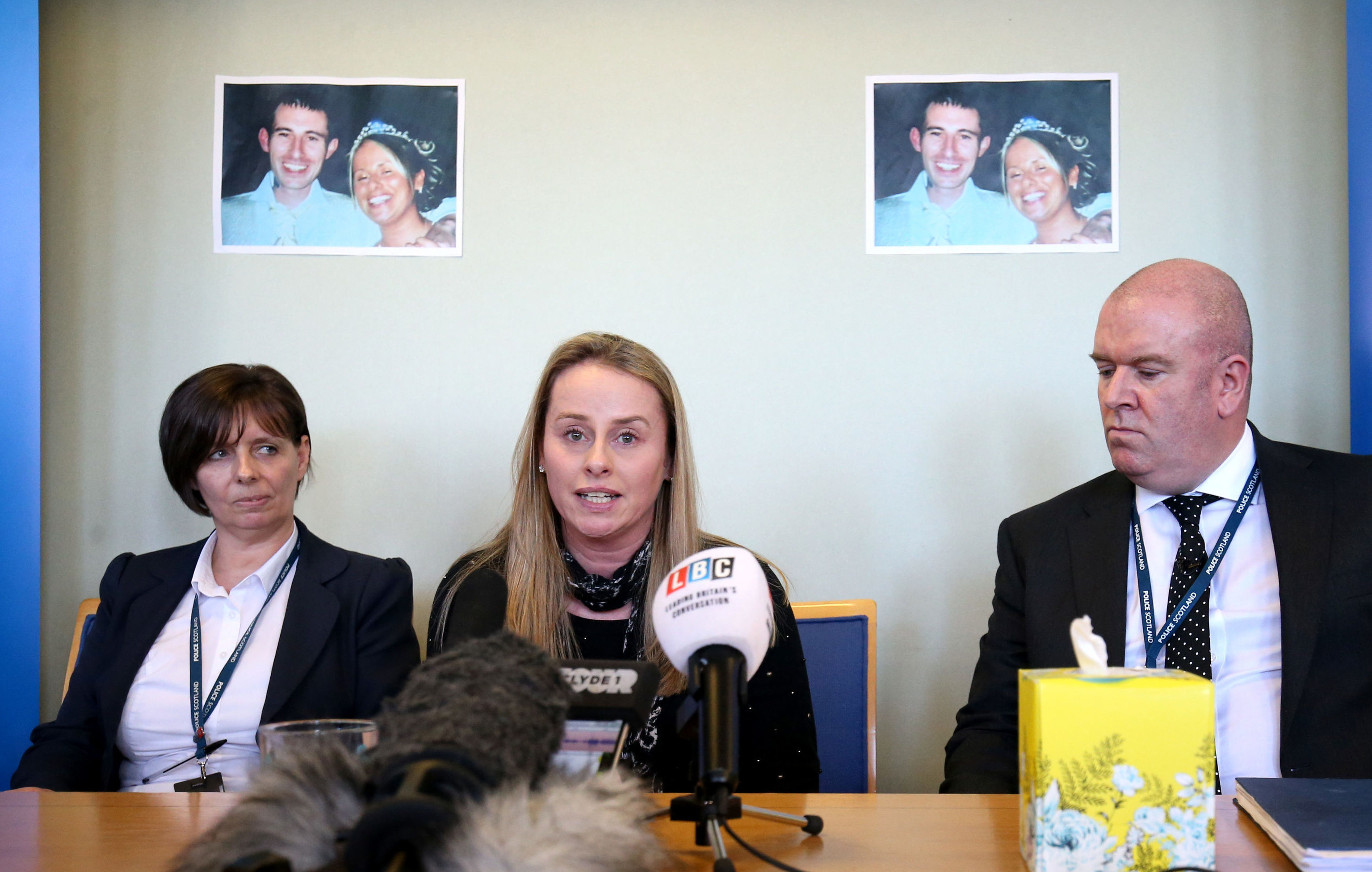 Amanda Digby (centre), sister of Paul Mathieson, issues an appeal for information (Jane Barlow/PA Wire)
