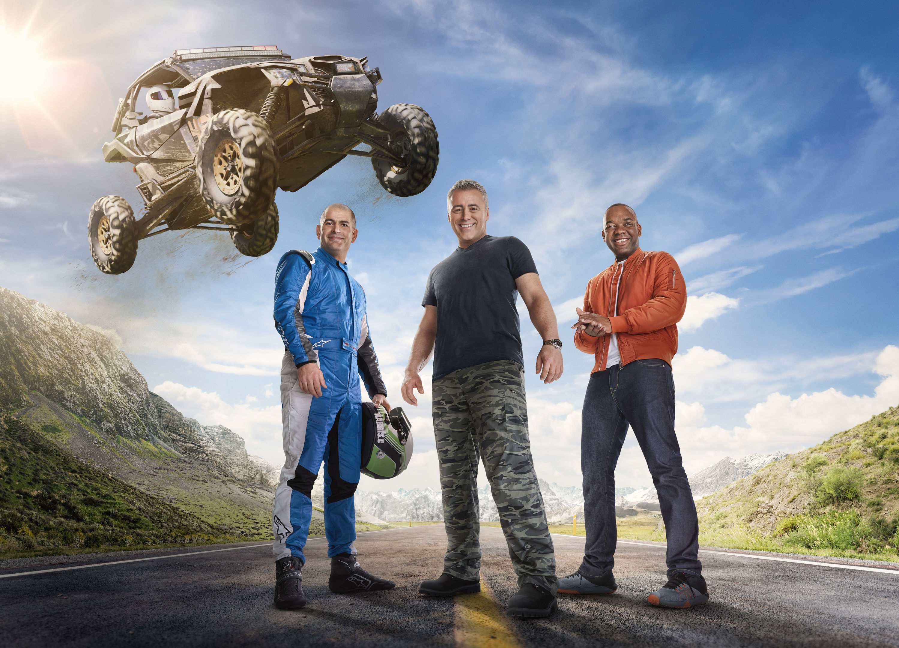Top Gear presenters Chris Harris (left), Matt LeBlanc (centre) and Rory Reid. (BBC/PA Wire)