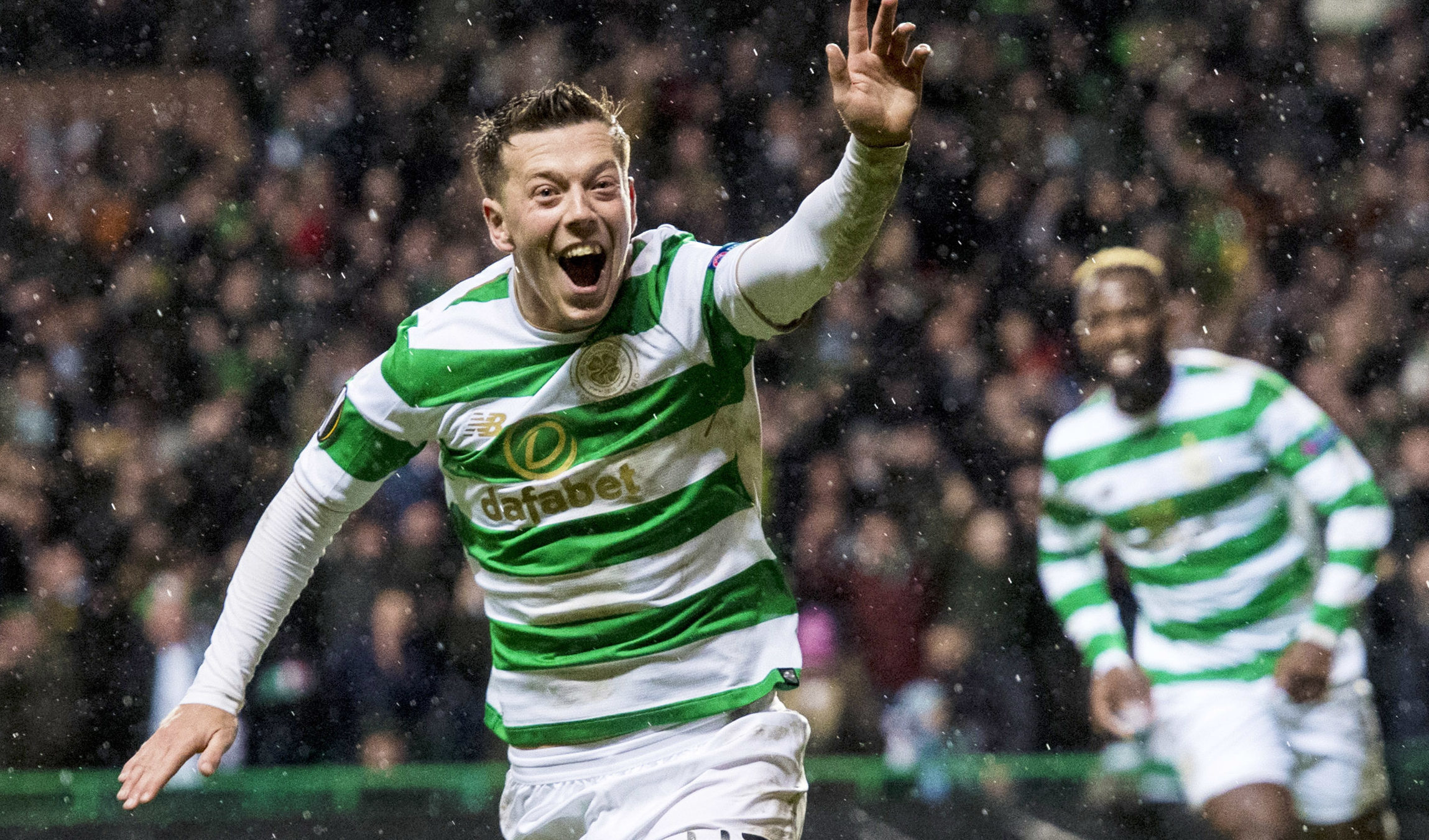 Celtic's Callum McGregor celebrates after he makes it 1-0 in the first leg (SNS Group / Craig Williamson)