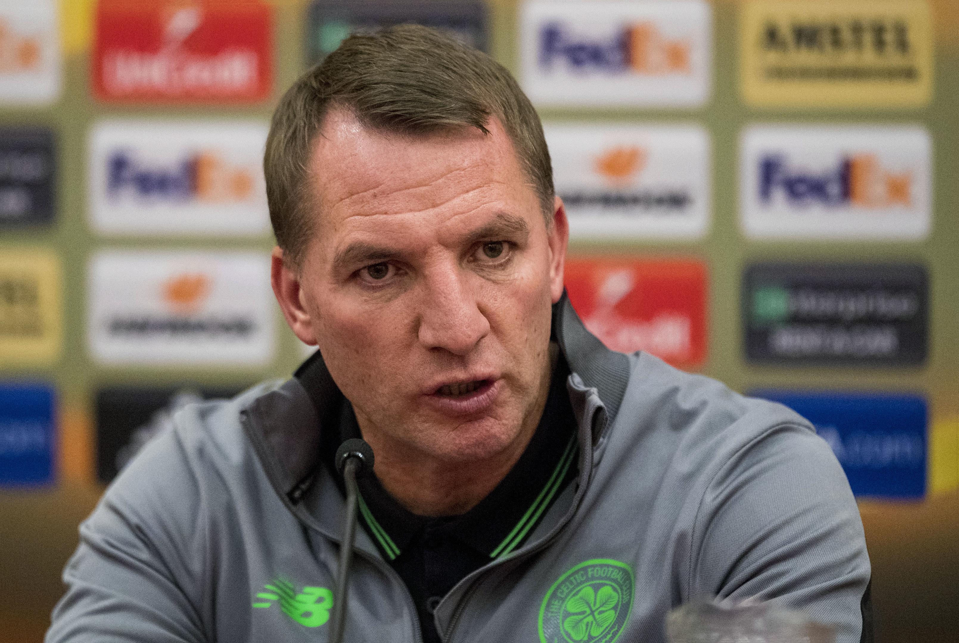 Celtic manager Brendan Rodgers speaks to the press ahead of tonight's match (SNS Group / Craig Williamson)