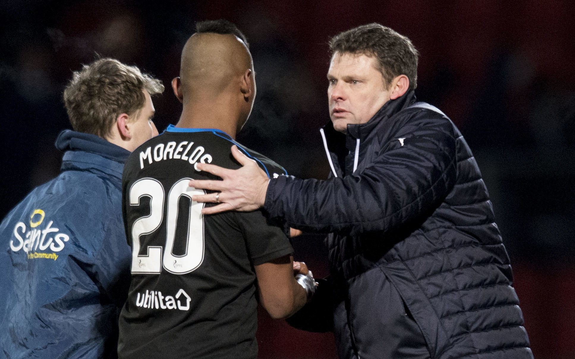 Rangers' manager Graeme Murty and Alfredo Morelos at full time against St Johnstone (SNS Group / Craig Williamson)