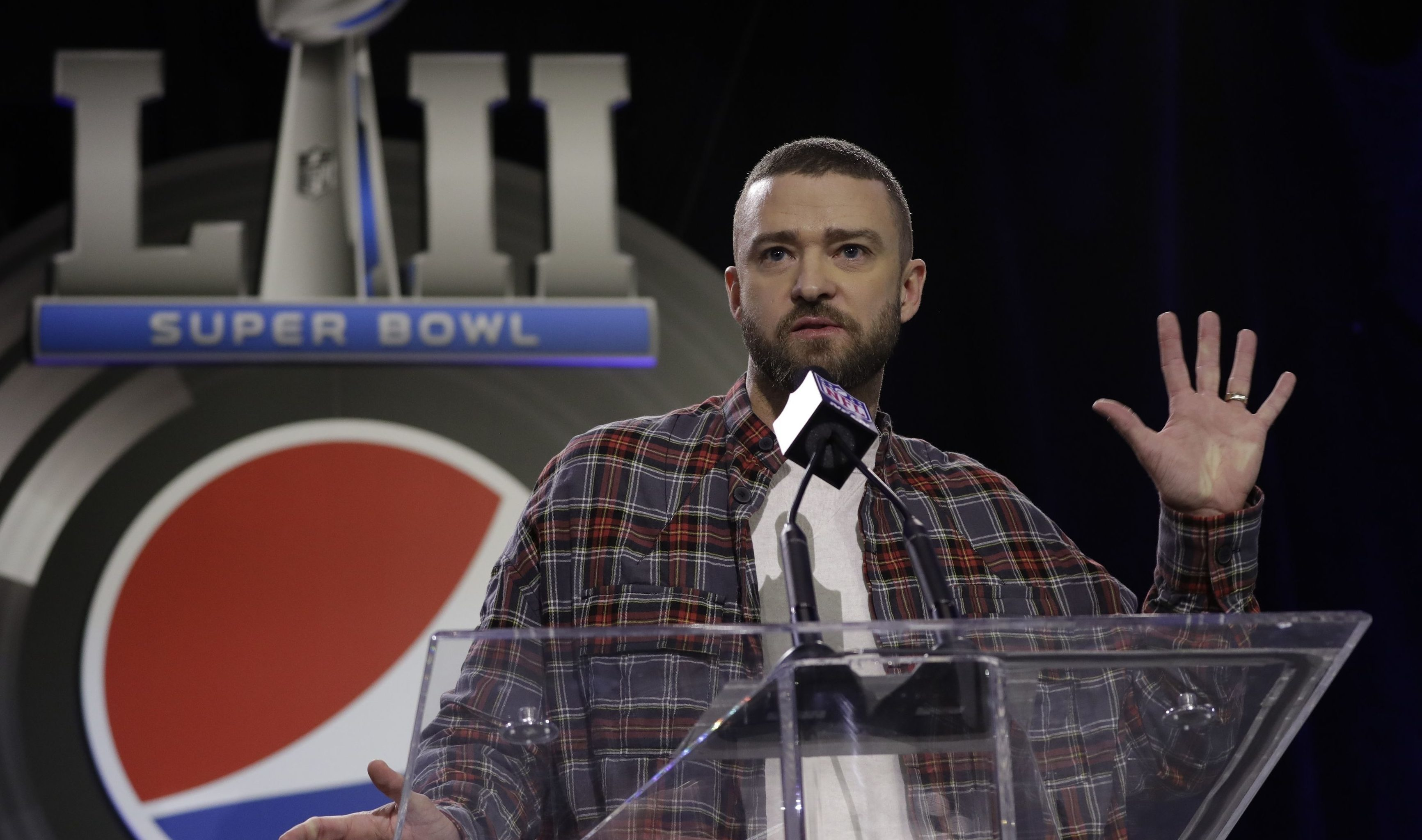 Justin Timberlake during a news conference for halftime show (AP Photo/Matt Slocum)