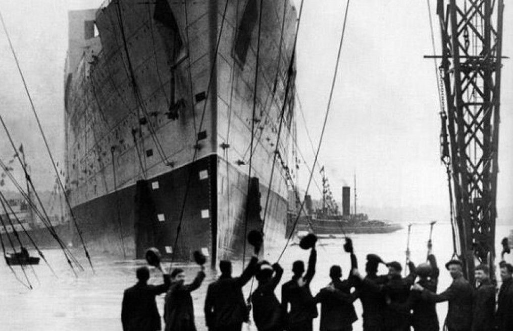 HMS Queen Mary is launched at John Brown's shipyard in Clydebank  on September 26, 1934