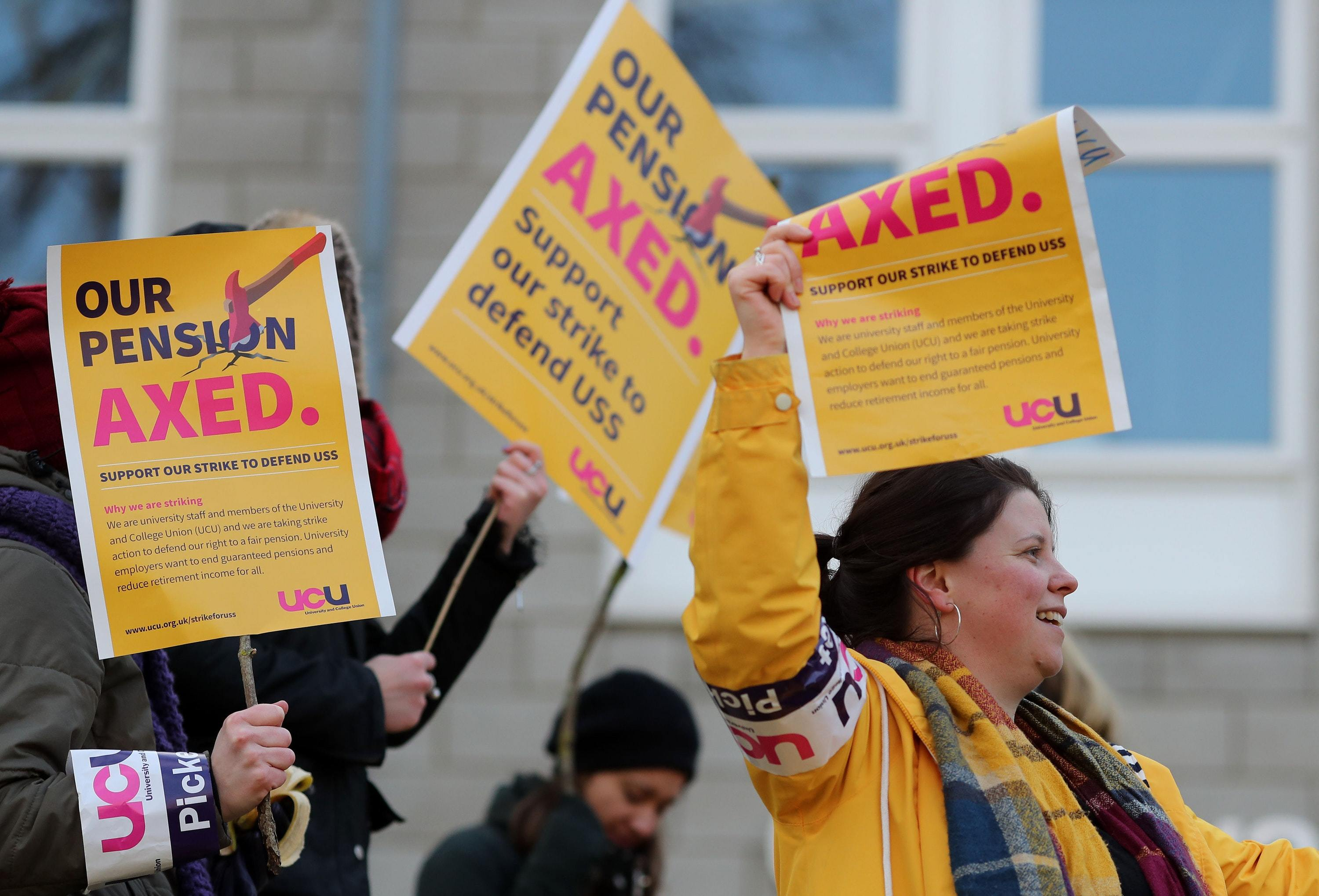 Members of the University and College Union on strike outside the University of Kent campus in Canterbury (Gareth Fuller/PA)
