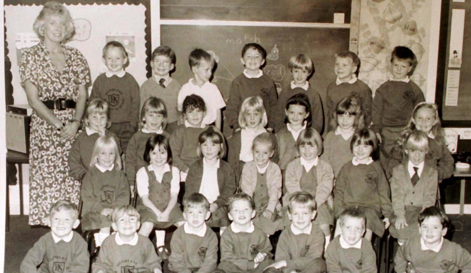 The Primary 1, class at Dunblane Primary School, pictured with teacher Gwenne Mayor, who was killed with sixteen of the children (PA)