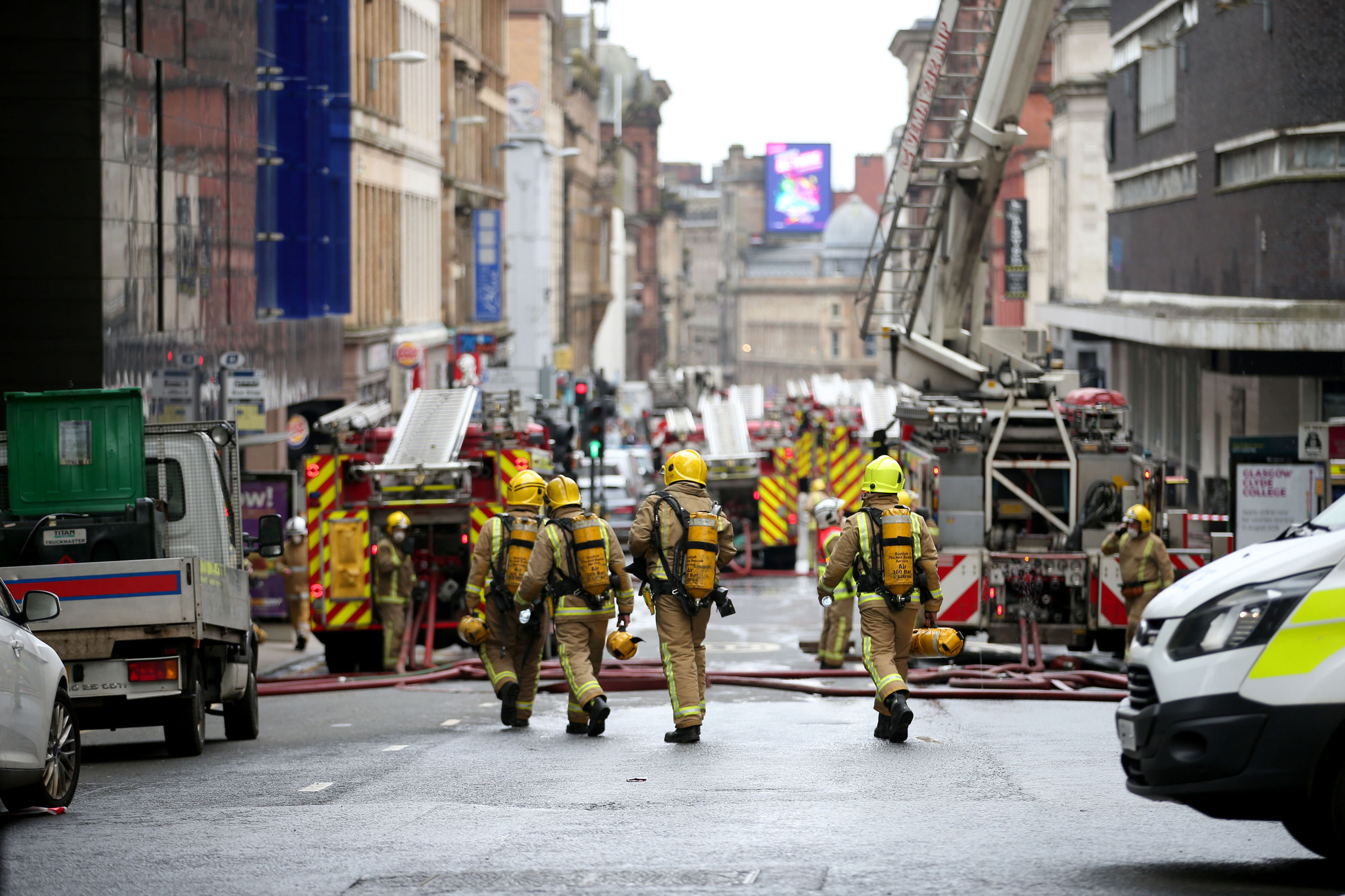 The scene in Glasgow city centre where firefighters tackled a large blaze on Sauchiehall Street (Jane Barlow/PA Wire)