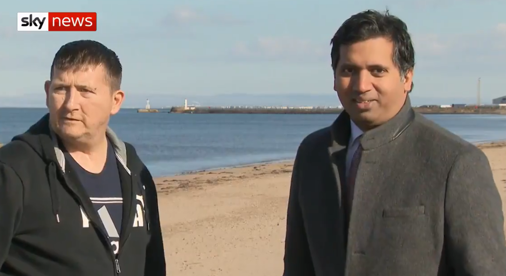 Faisal Islam encountered a curious passer-by in Ayr (Sky News / Twitter)