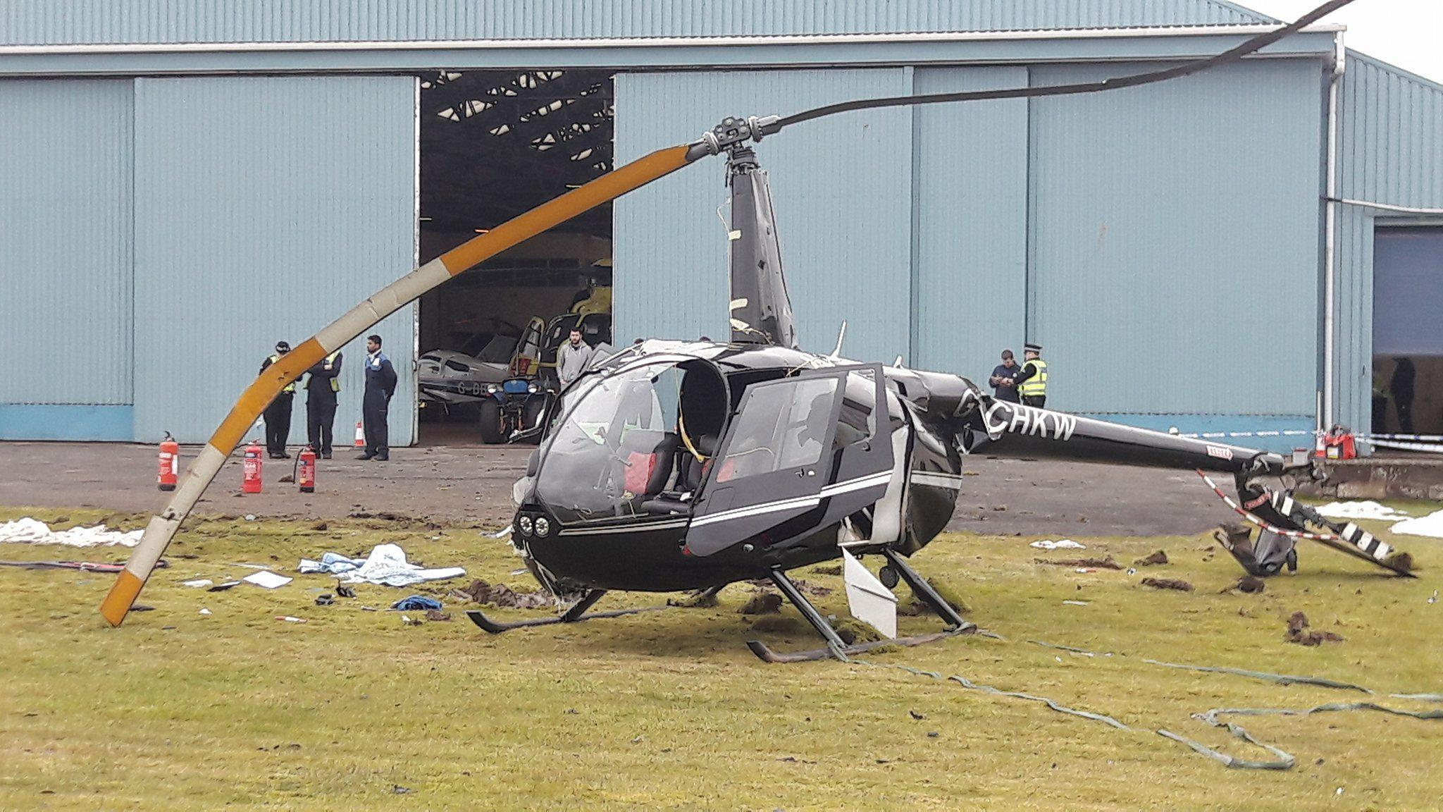 The helicopter crashed at Perth Airport (DC Thomson)