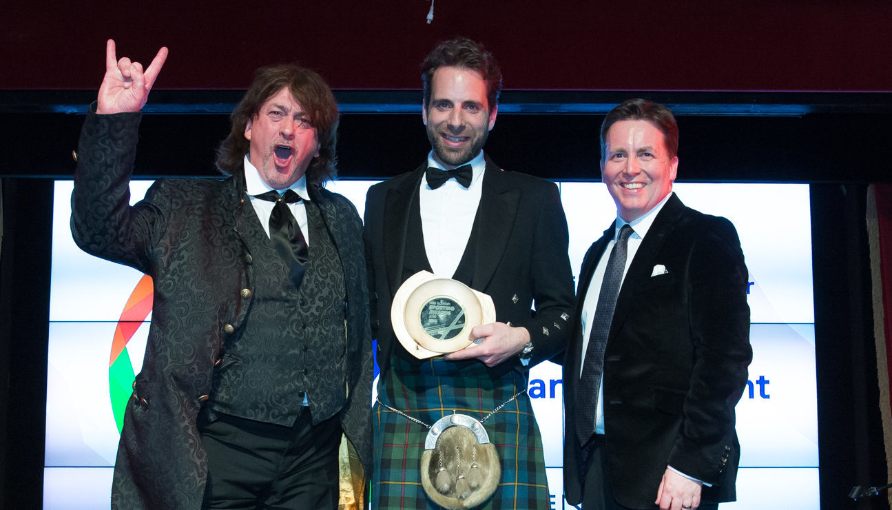 Our columnist Donald (left) with award winner Mark Beaumont and host David Tanner (Wullie Marr Photography)