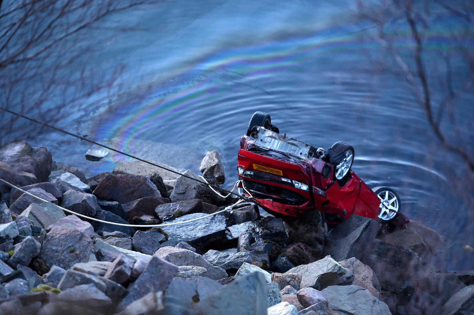 The car is recovered from Little Loch Broom near Ardessie last night (Sandy McCook / Press & Journal)