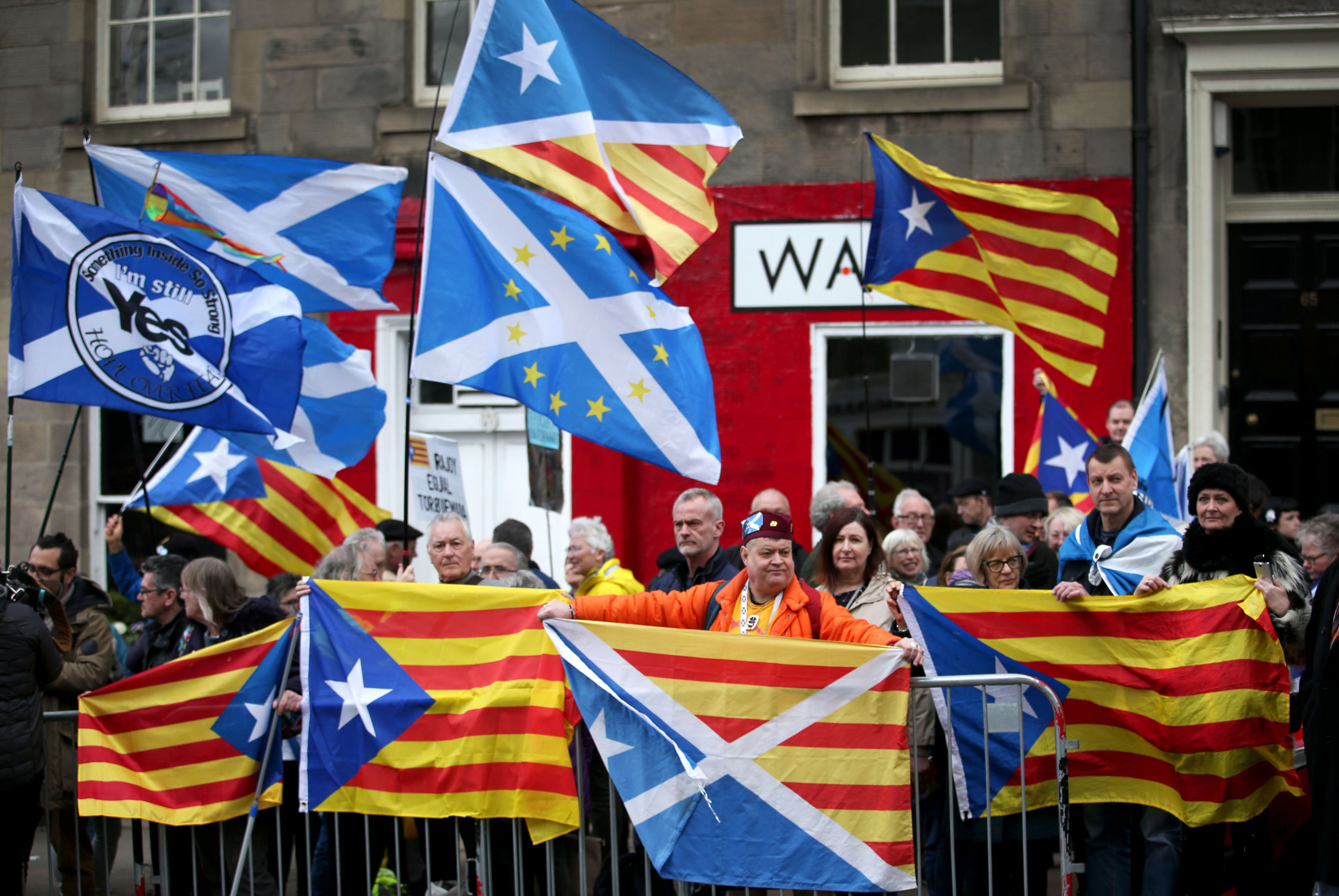 Demonstrators outside the Spanish Consulate in Edinburgh protest against the extradition of Clara Ponsati (Jane Barlow/PA Wire)