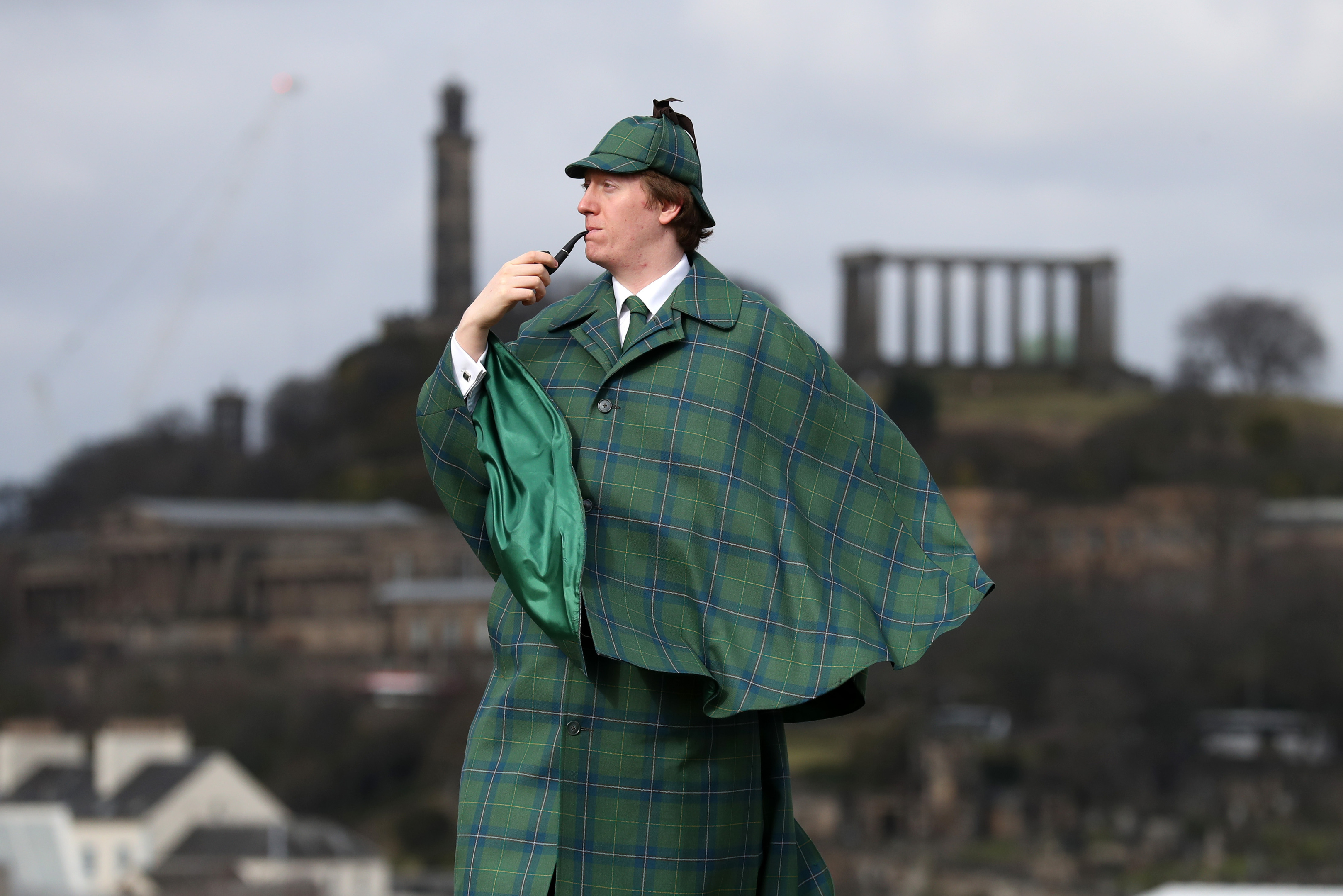 Harry Chamberlain at the launch in Edinburgh of the Sherlock Holmes tartan which has been designed by the great great step granddaughter of author Sir Arthur Conan Doyle (Andrew Milligan/PA Wire)