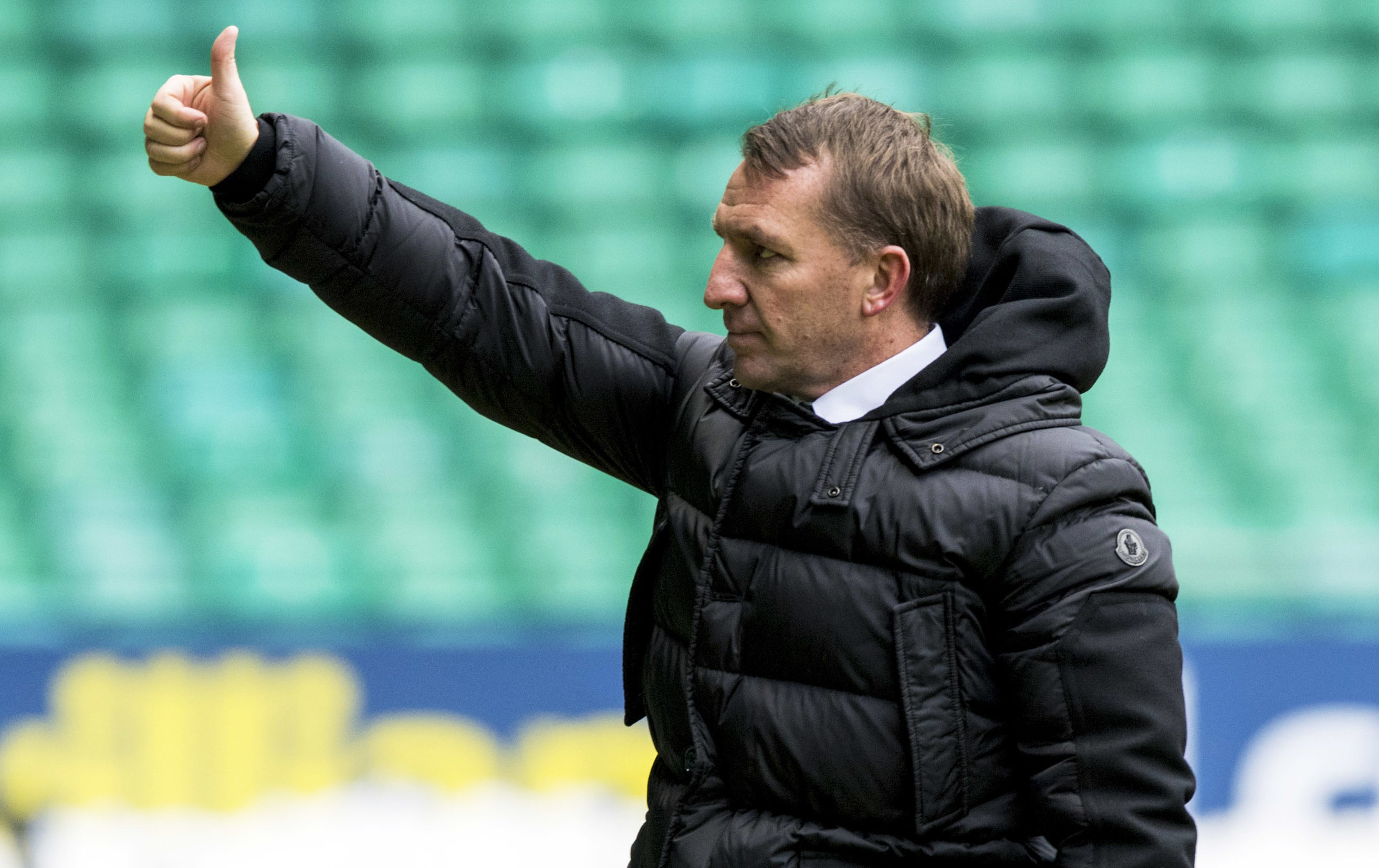 Celtic manager Brendan Rodgers celebrates at full-time. (SNS)