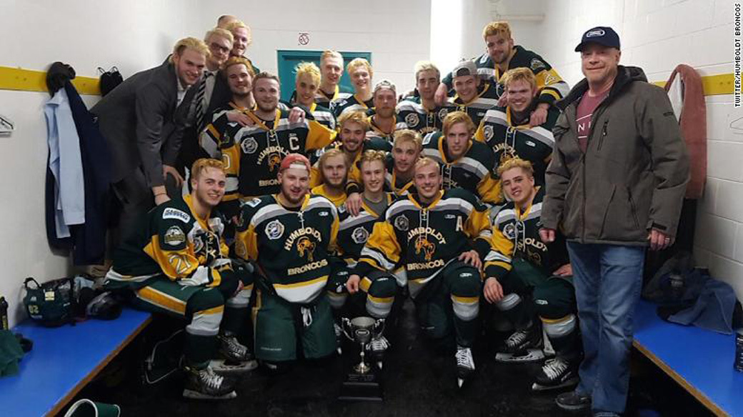 The Humboldt Broncos hockey team, who were involved in a crash which resulted in multiple fatalities.
