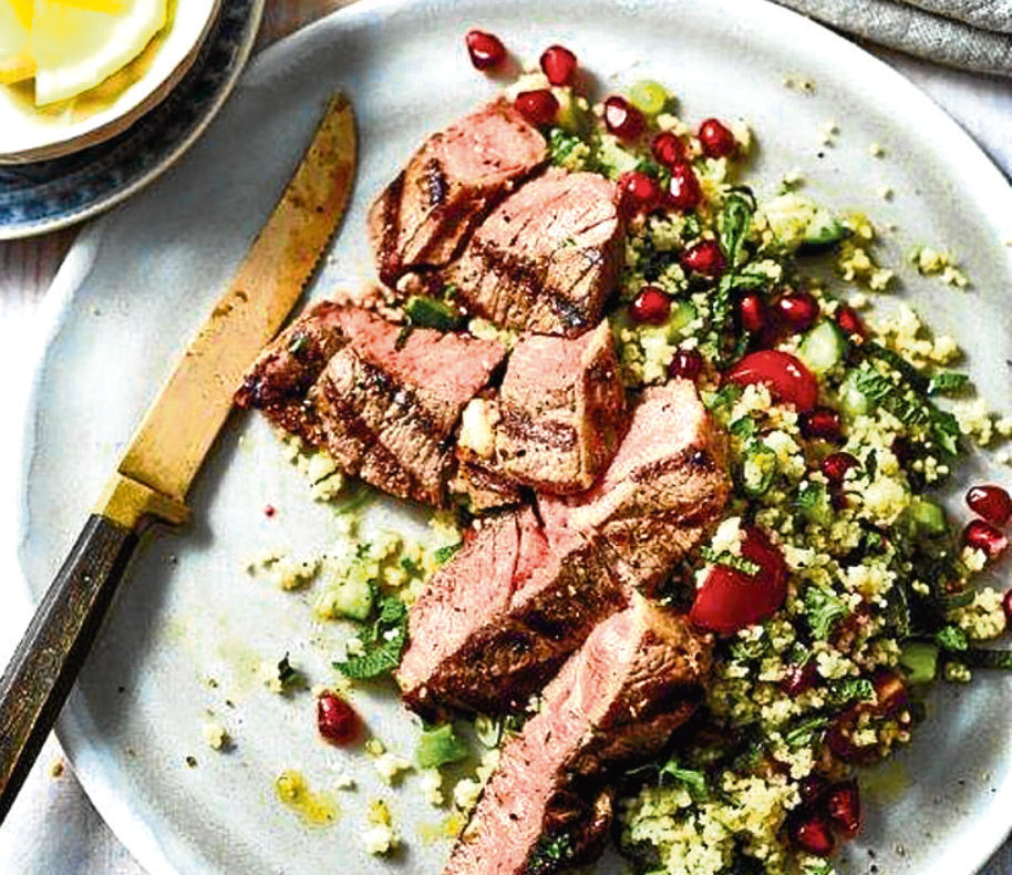 Lamb steaks with minty tabbouleh