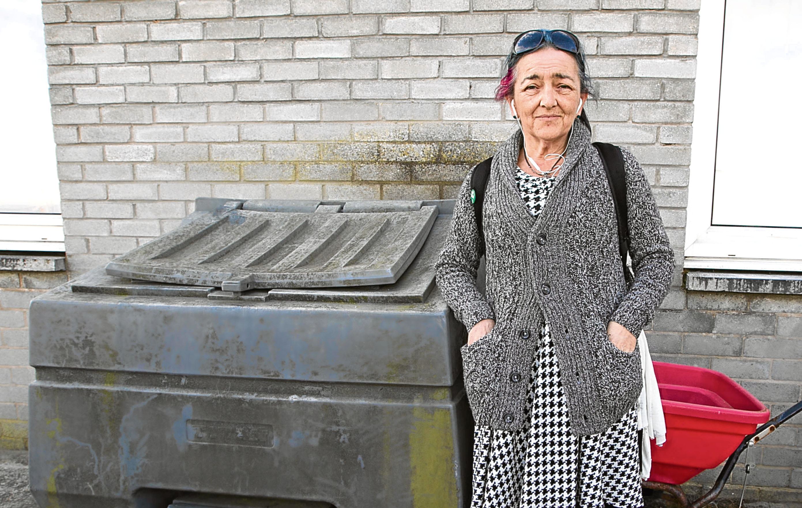Monty Phillips pictured yesterday beside the grit bin where she was forced to take shelter for the night (Chris Austin / DC Thomson)