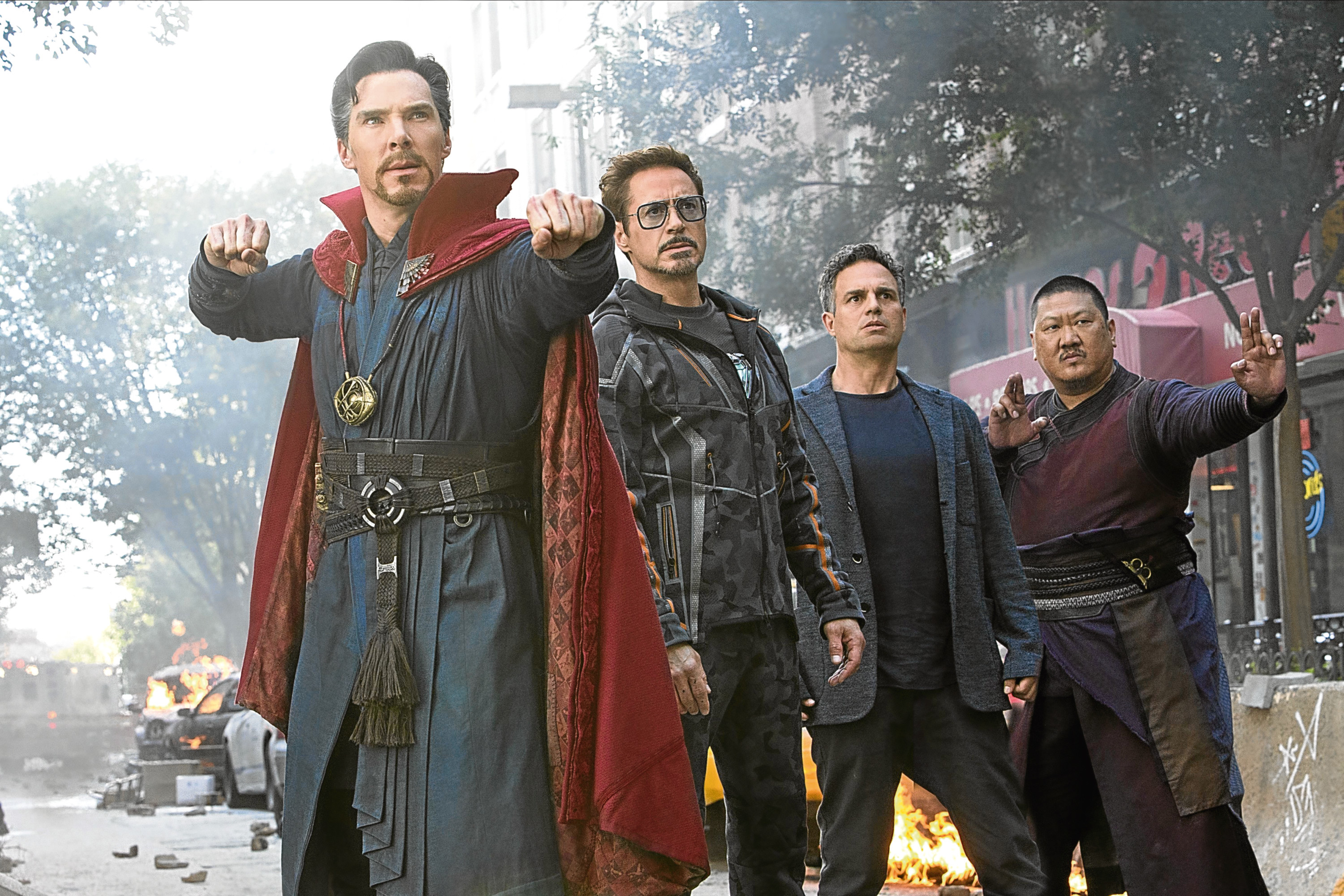 Getting ready to rumble in Avengers: Infinity War are (from left) Benedict Cumberbatch (Doctor Stephen Strange), Robert Downey Jr (Tony Stark/Iron Man), Mark Ruffalo (Bruce Banner/Hulk) and Benedict Wong (Wong) (MARVEL STUDIOS/DISNEY)