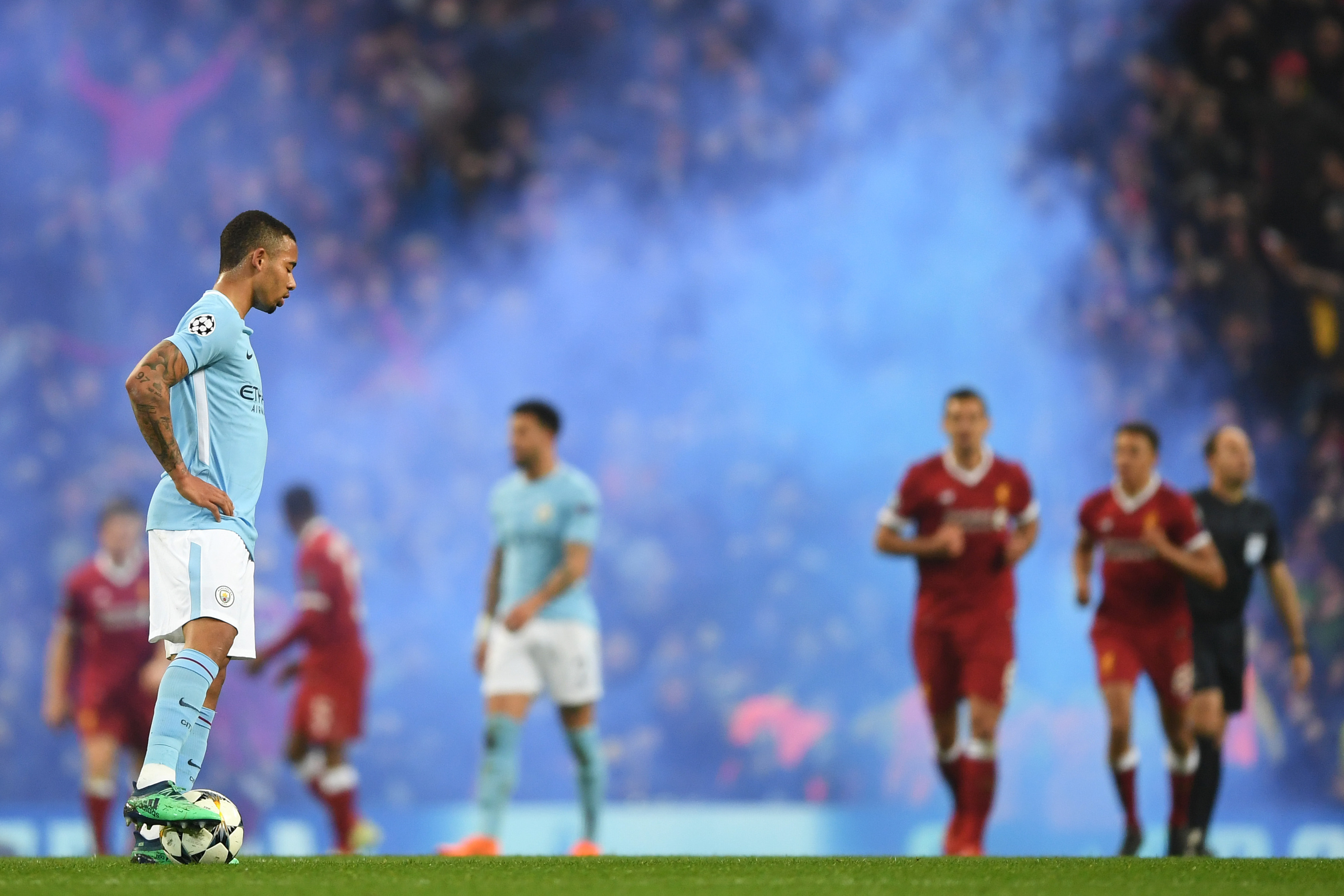 A dejected Gabriel Jesus of Manchester City in the Champions League defeat to Liverpool (Shaun Botterill/Getty Images)