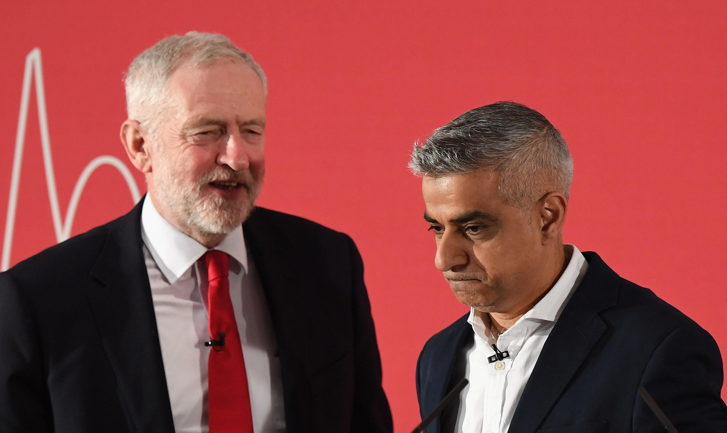 London Mayor Sadiq Khan and Labour Leader Jeremy Corbyn (Chris J Ratcliffe/Getty Images)