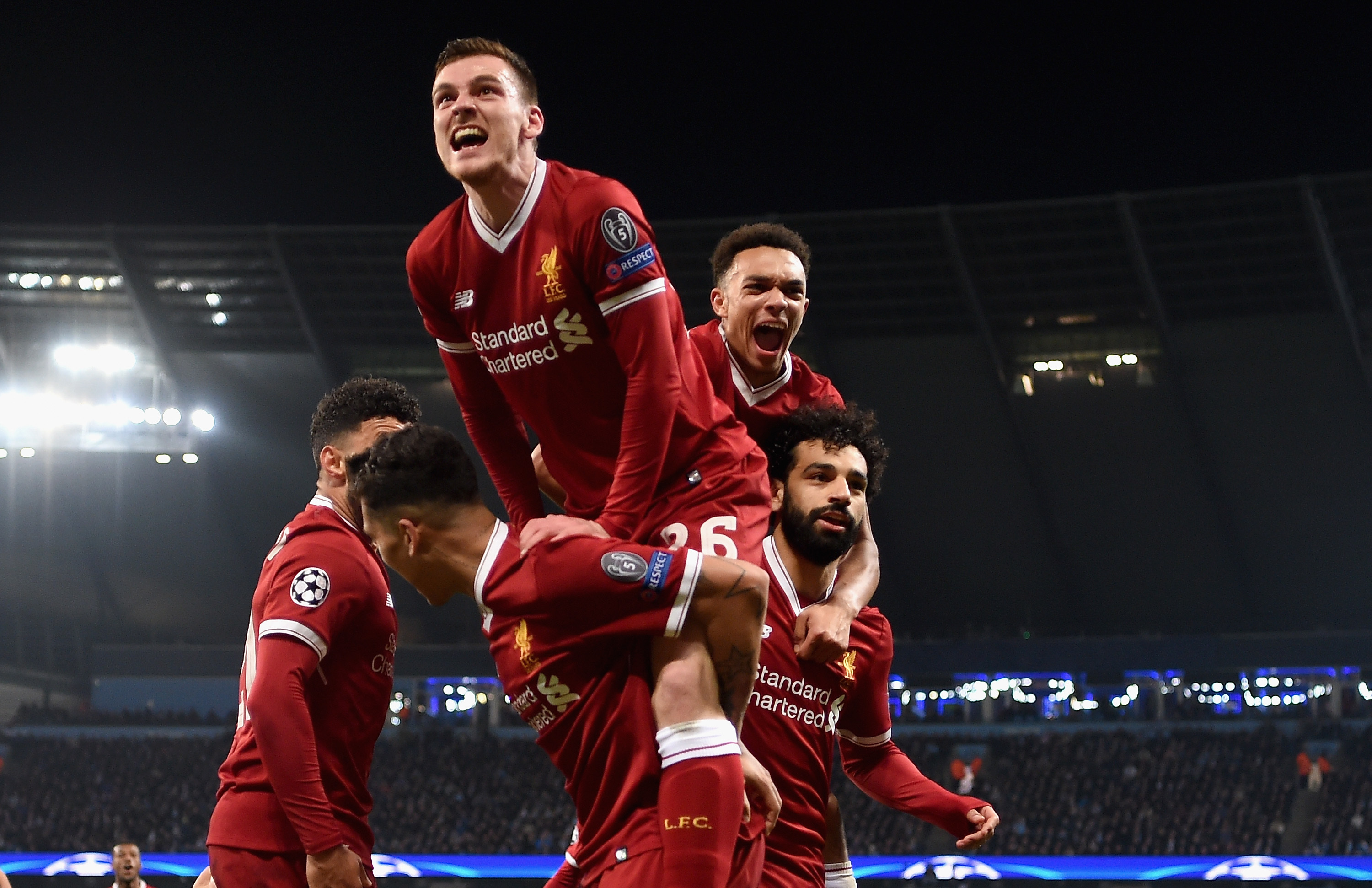 Andy Robertson celebrates grabbing a Champions League semi-final spot in midweek (Laurence Griffiths/Getty Images)