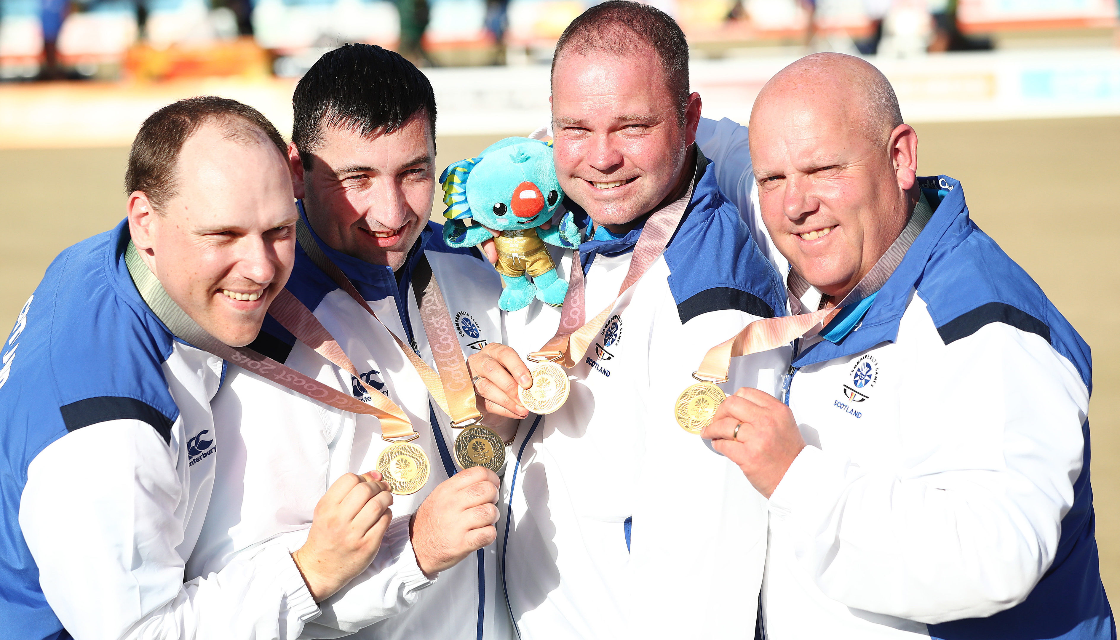 Ronald Duncan, Derek Oliver, Paul Foster and Alex Marshall of Scotland won gold in the Men's Fours (Jono Searle/Getty Images)