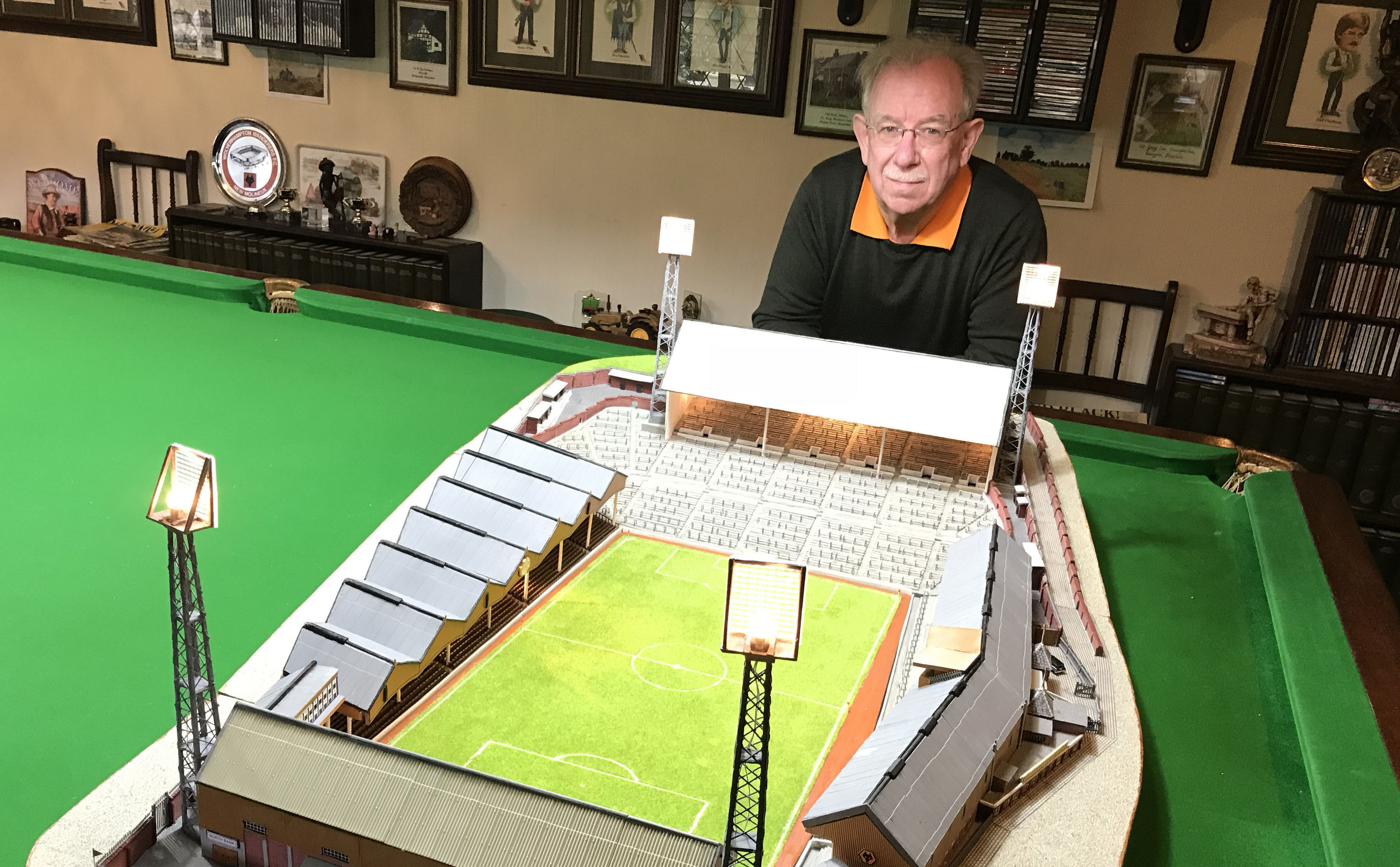 Retired accountant Chris Jepson has spent more than 500 hours making a scale model of the Molineux Stadium (Phil Barnett /PA Wire)