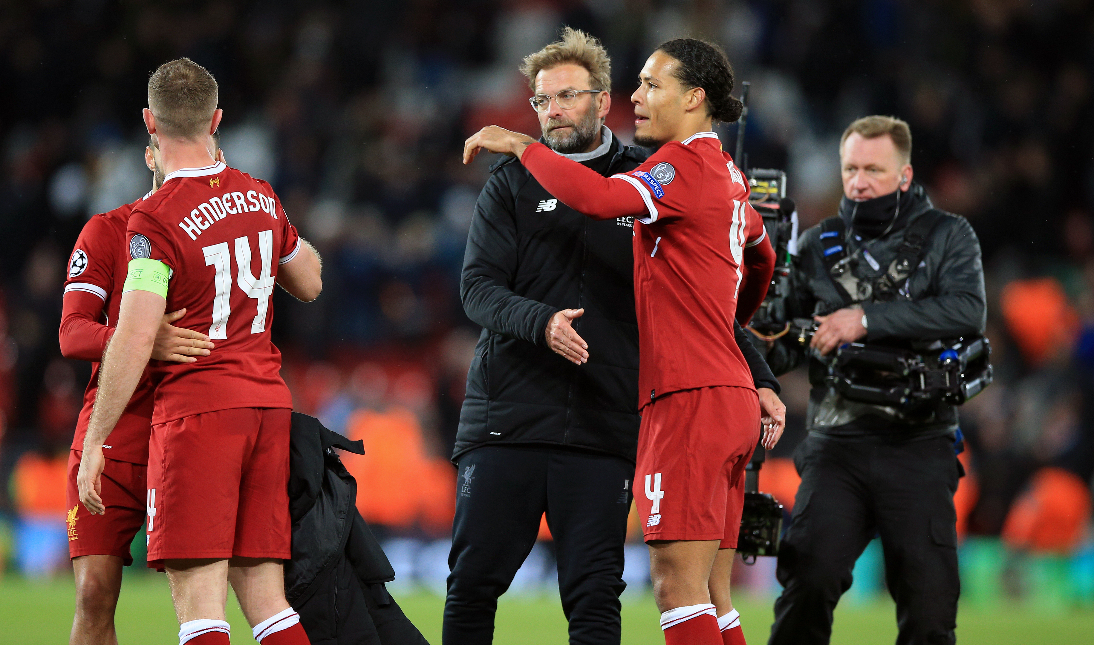 Liverpool manager Jurgen Klopp celebrates victory with Virgil van Dijk after the UEFA Champions League quarter final, first leg match at Anfield, Liverpool (PA)