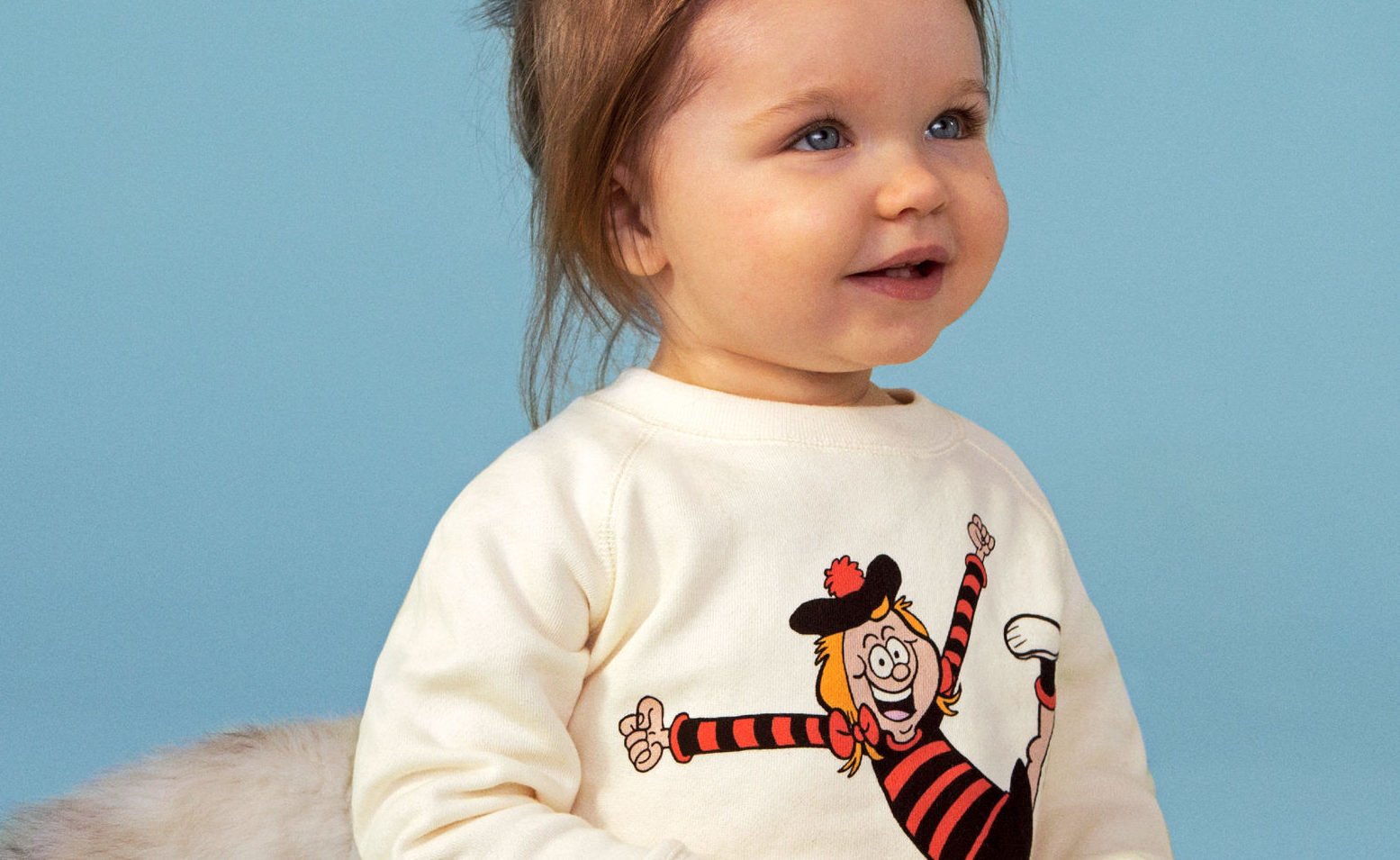 18-month-old Ava wearing the new Beano X Stella McCartney kid clothing range (Stella McCartney/Beano Studios /PA Wire)