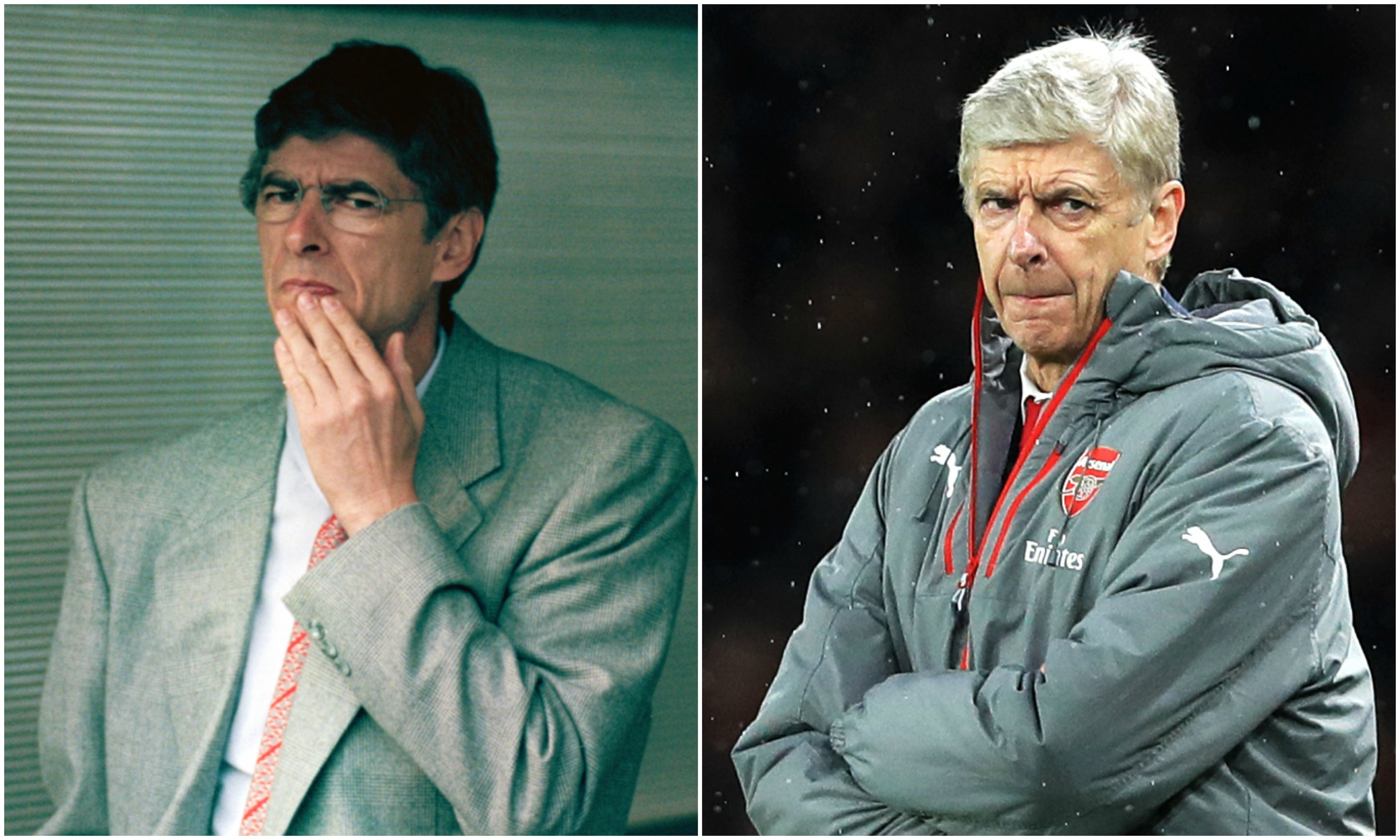 Wenger pictured in 1996 (left) and 2018